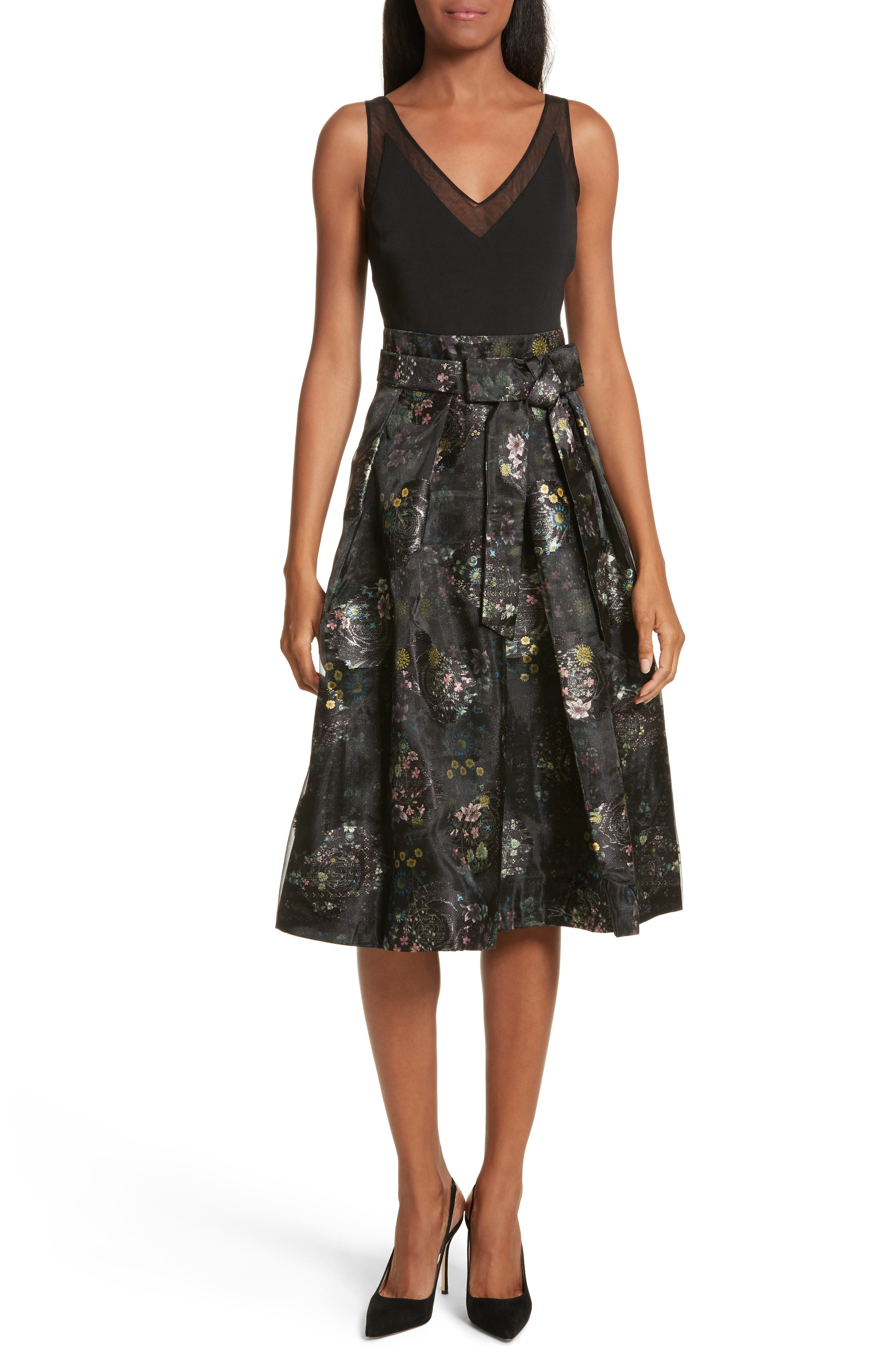 Freay Metallic Floral Fit & Flare Dress,                         Main,                         color, Black