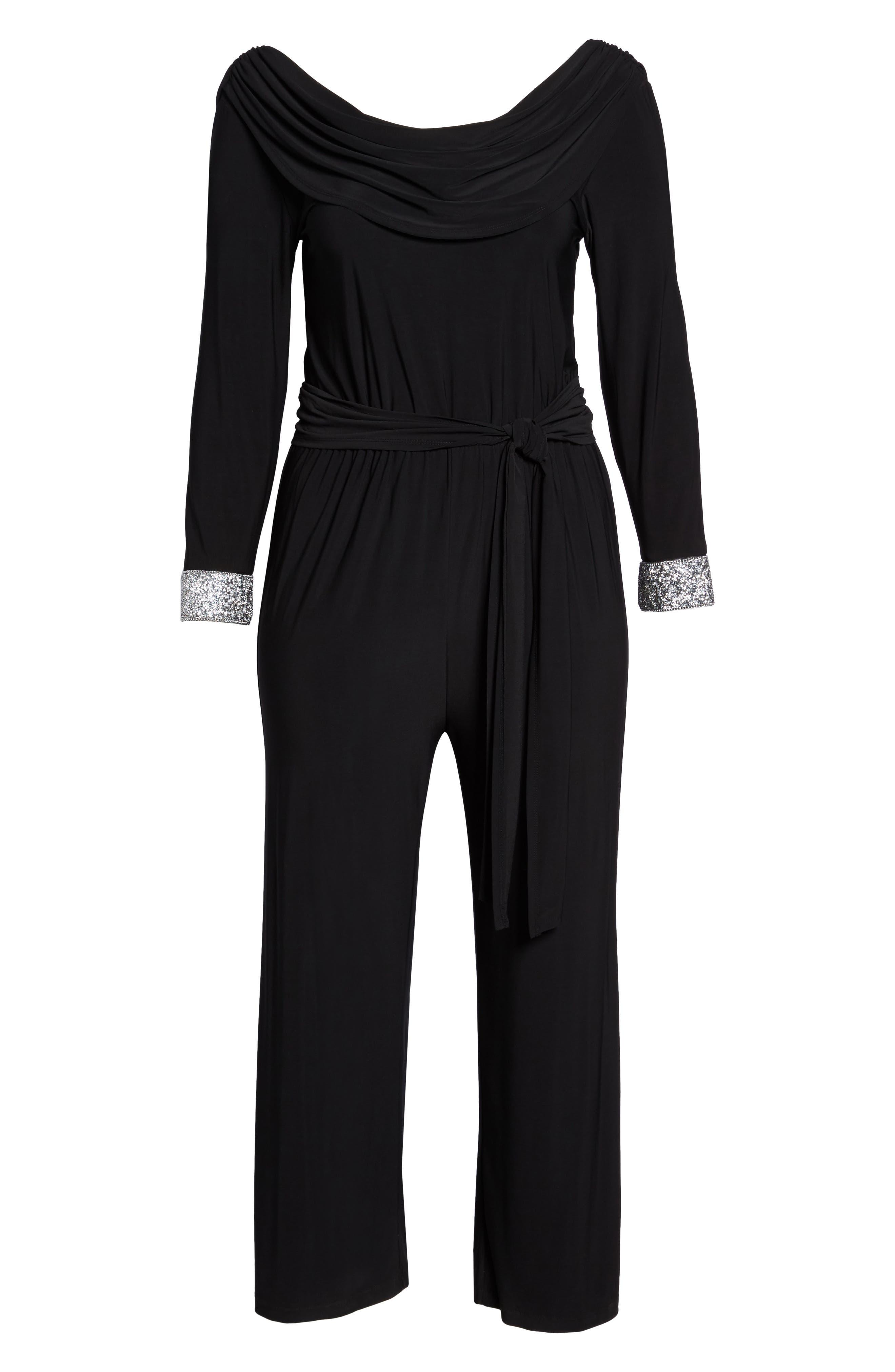 Embellished Cowl Back Jumpsuit,                             Alternate thumbnail 6, color,                             Black