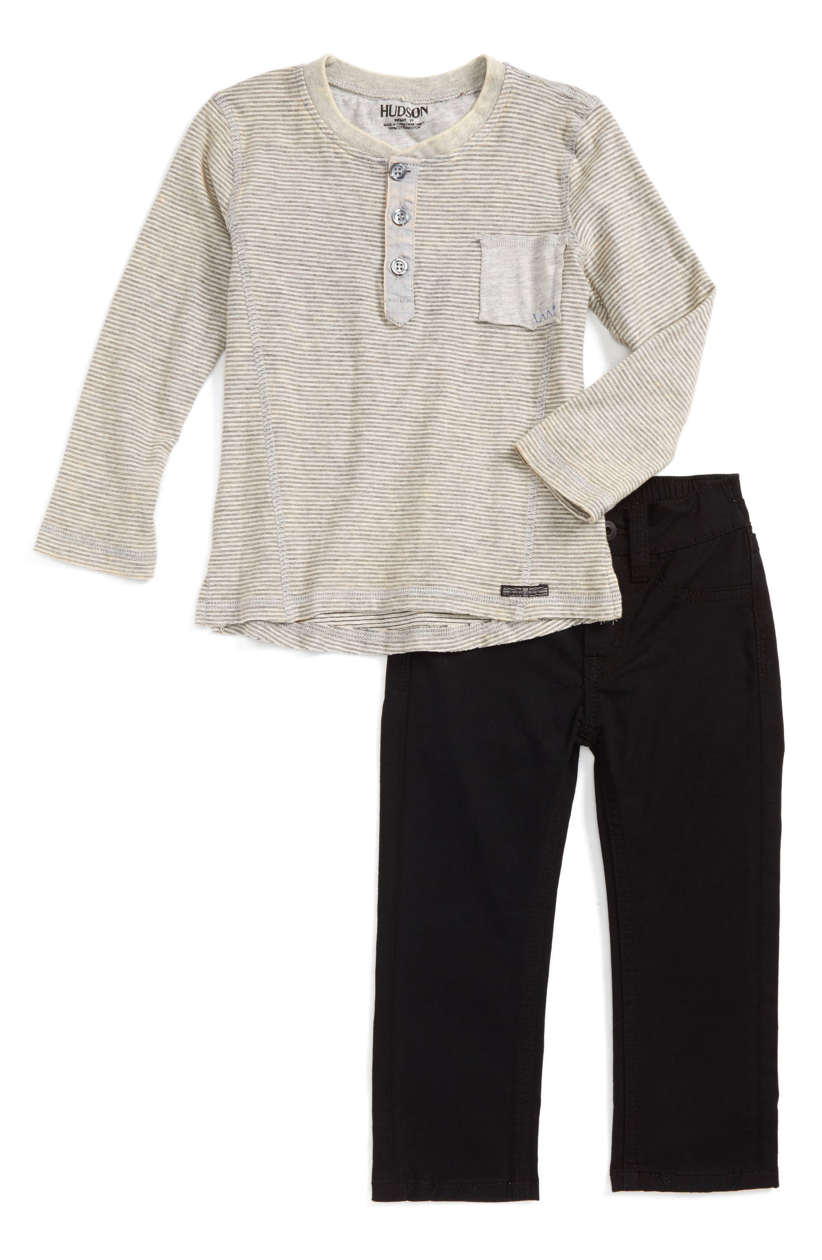 Hudson Stripe Henley & Jeans Set (Toddler Boys)