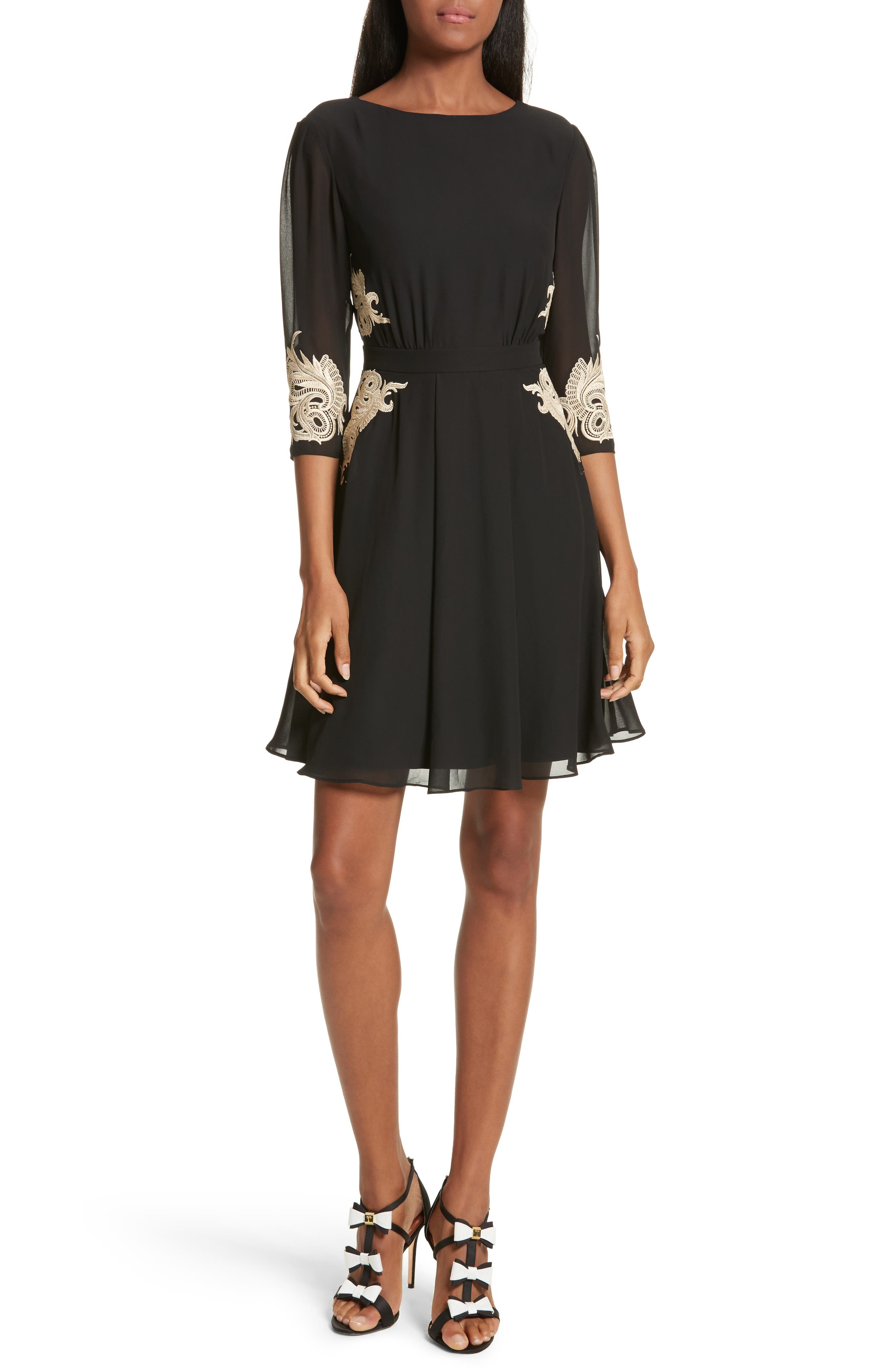 Gaenor Embroidered Fit & Flare Dress,                         Main,                         color, Black