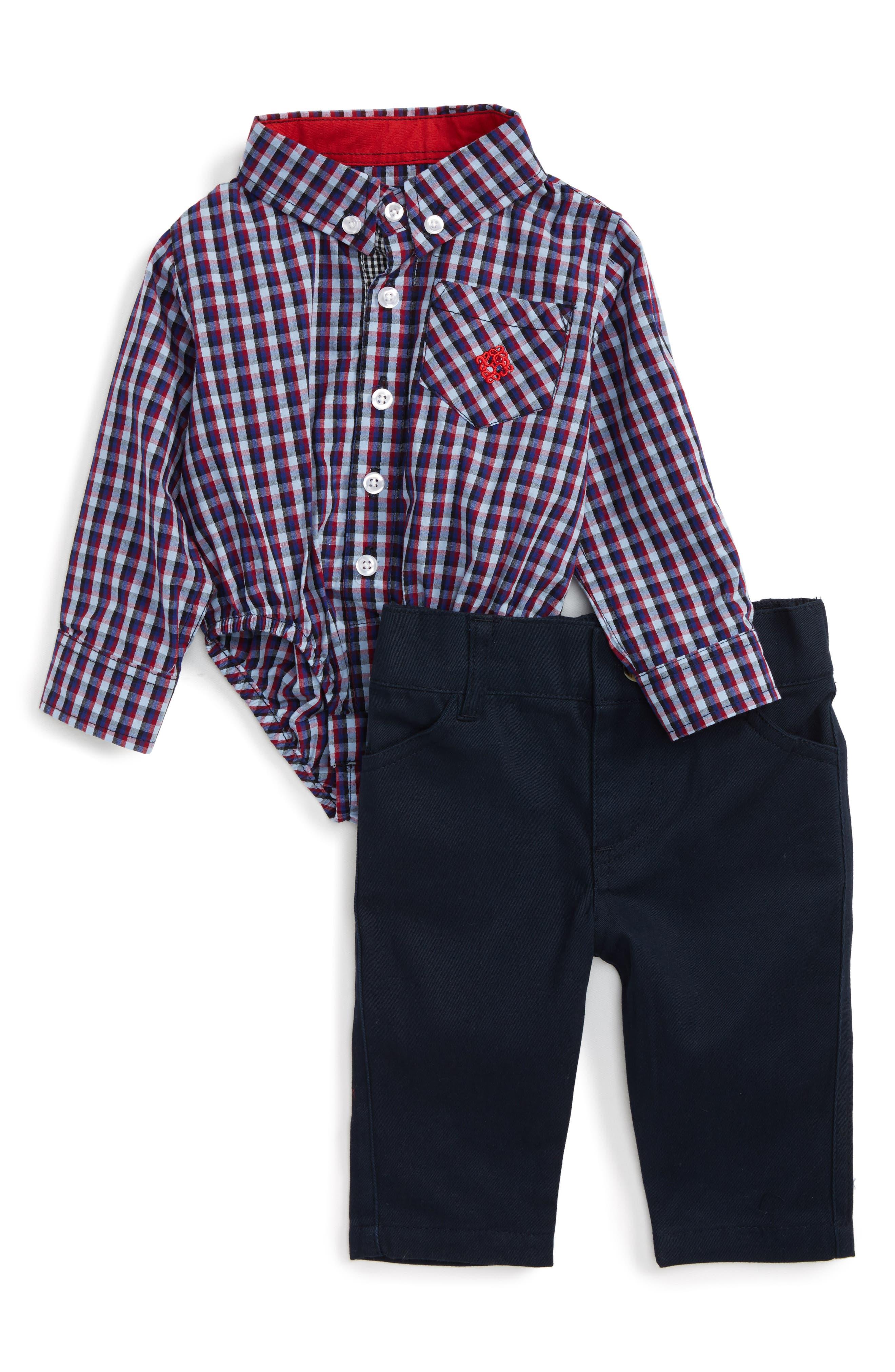 Main Image - Andy & Evan Shirtzie Check Bodysuit & Pants Set (Baby Boys)
