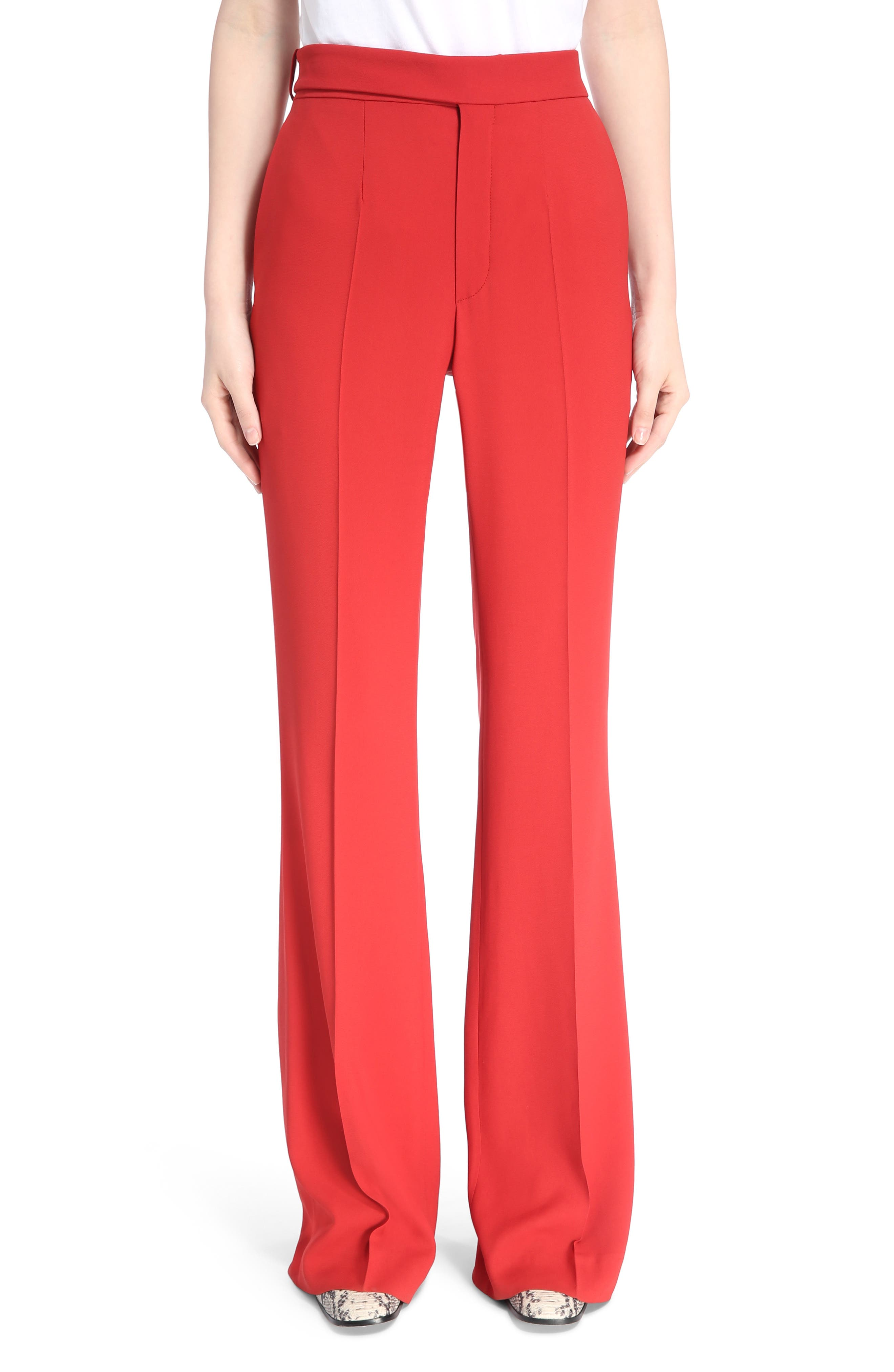 Cady Flare Suiting Pants,                         Main,                         color, Ginger Red