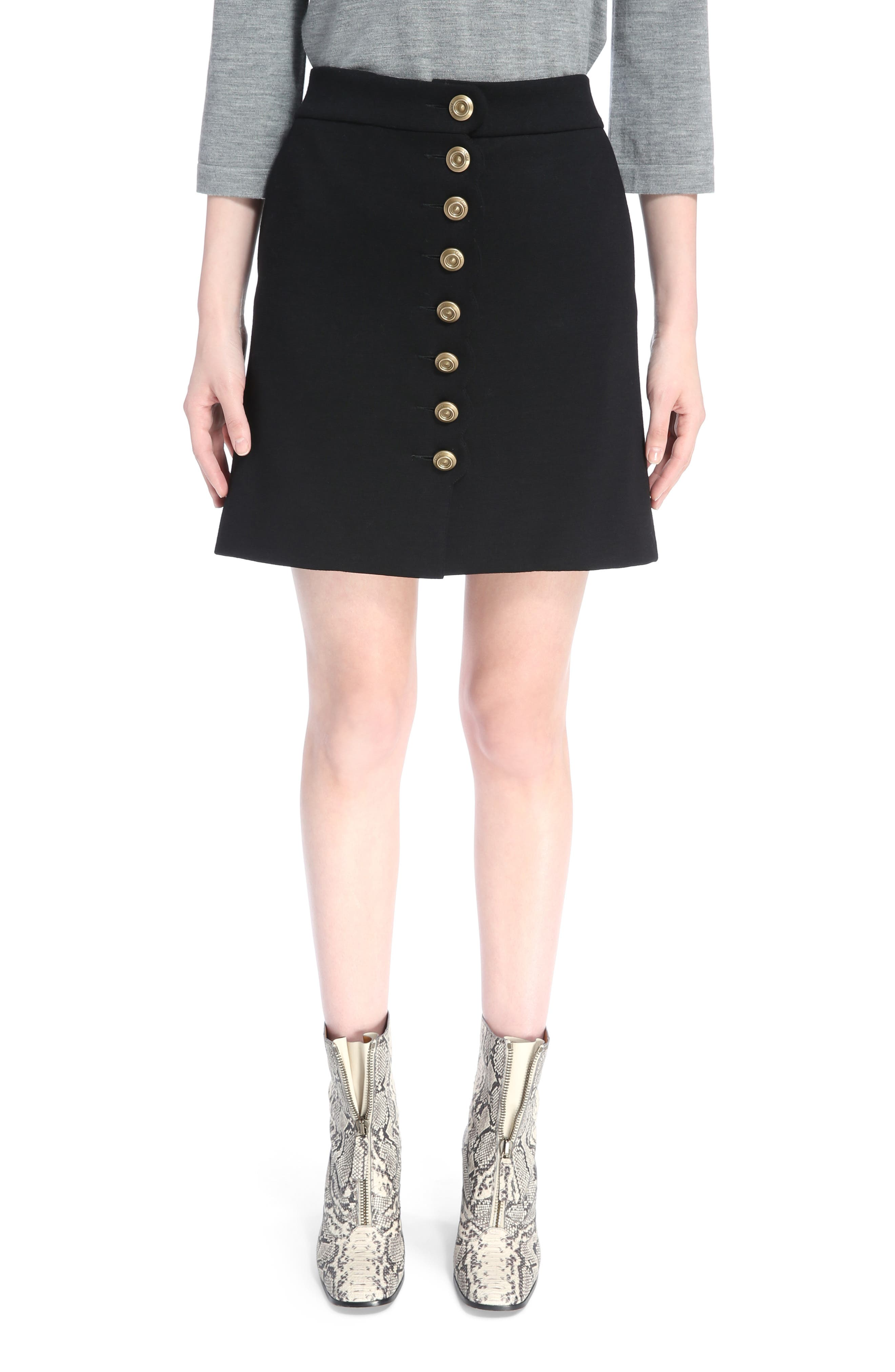 Button Detail Wool Knit Skirt,                             Main thumbnail 1, color,                             Black