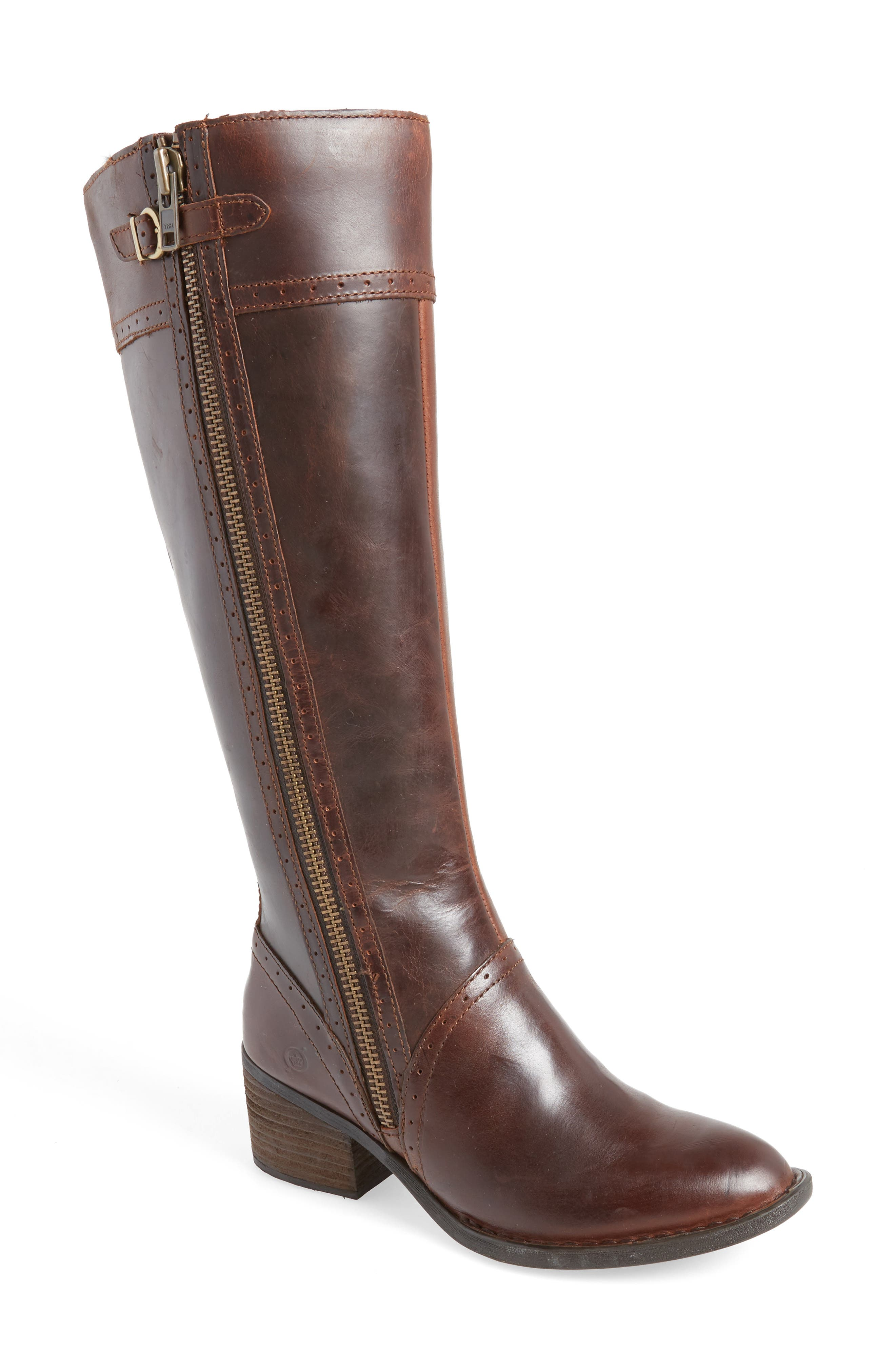 Poly Riding Boot,                             Main thumbnail 1, color,                             Brown Full Grain Leather