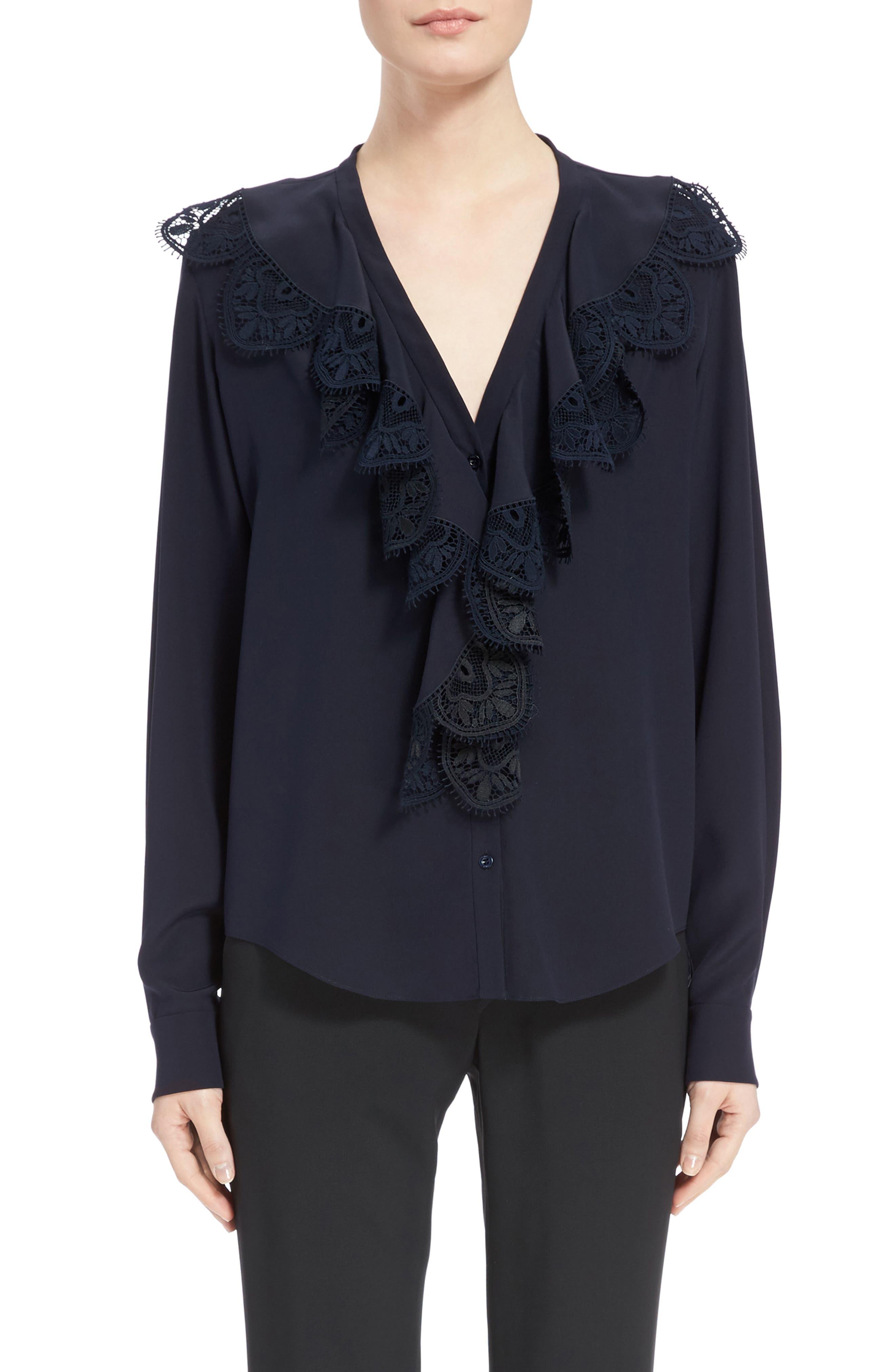 Main Image - Chloé Lace Ruffle Silk Blouse