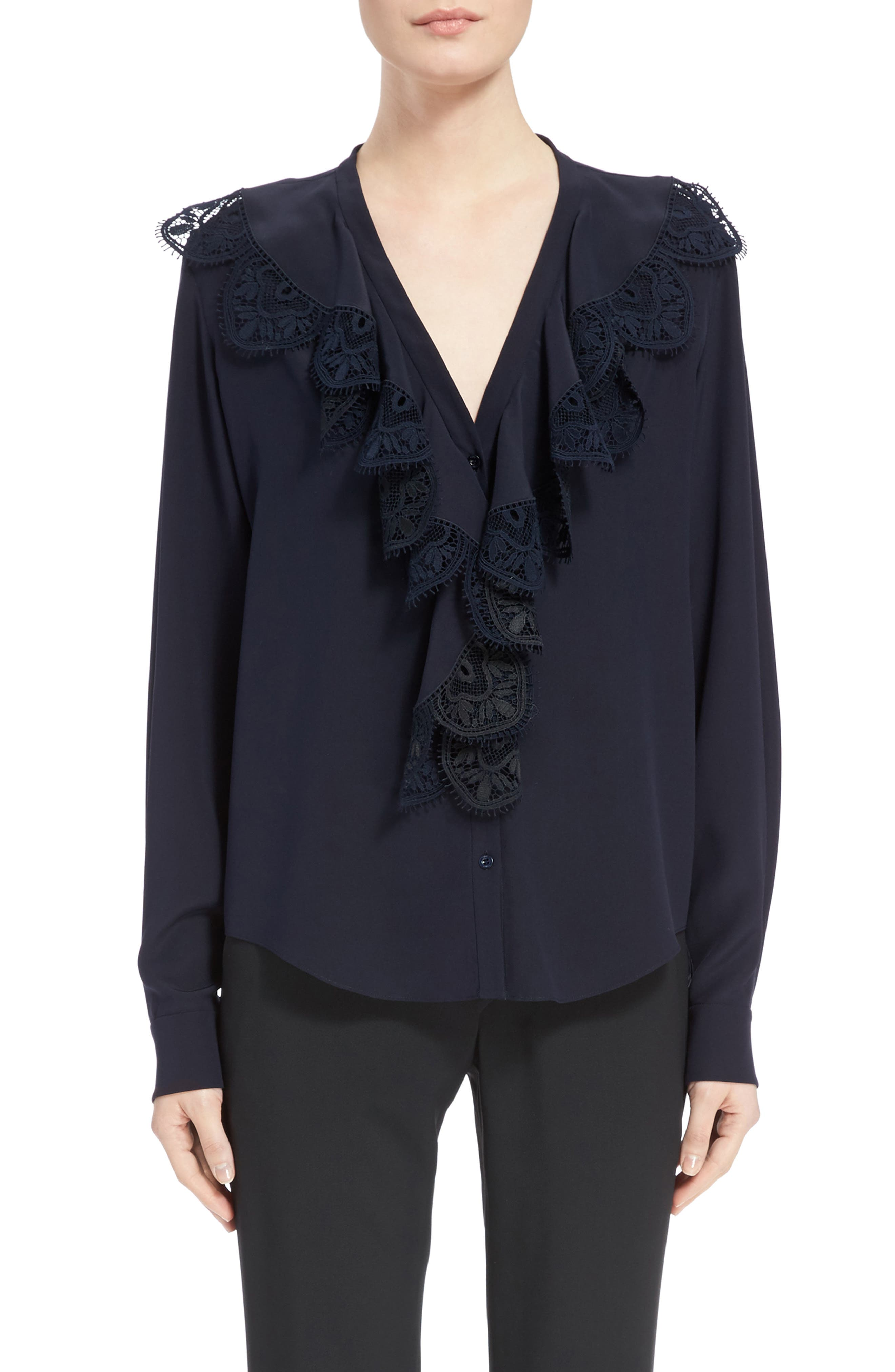 Lace Ruffle Silk Blouse,                         Main,                         color, Iconic Navy