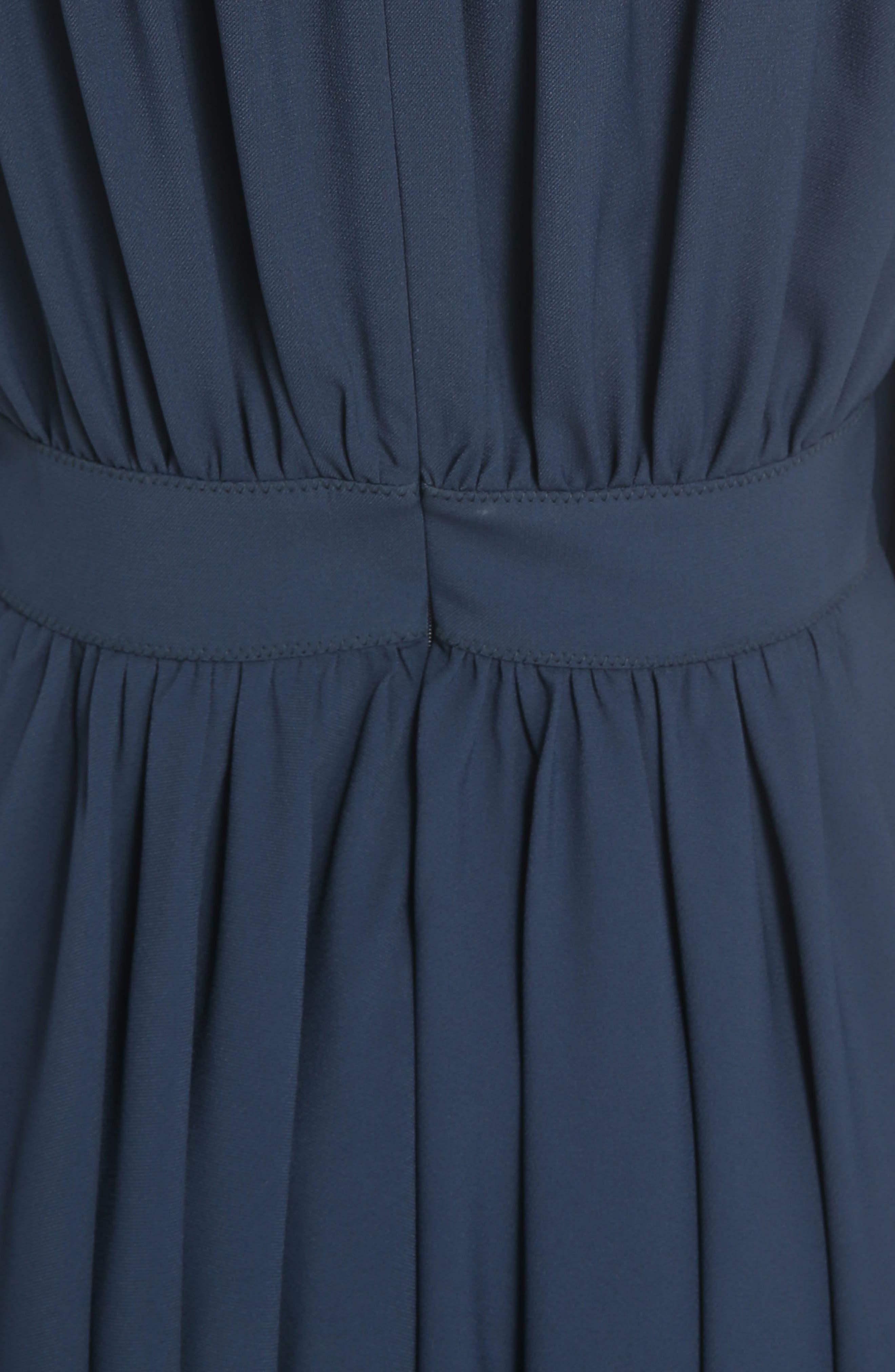 Pleated Tie Cuff Cady Dress,                             Alternate thumbnail 5, color,                             Dark Denim