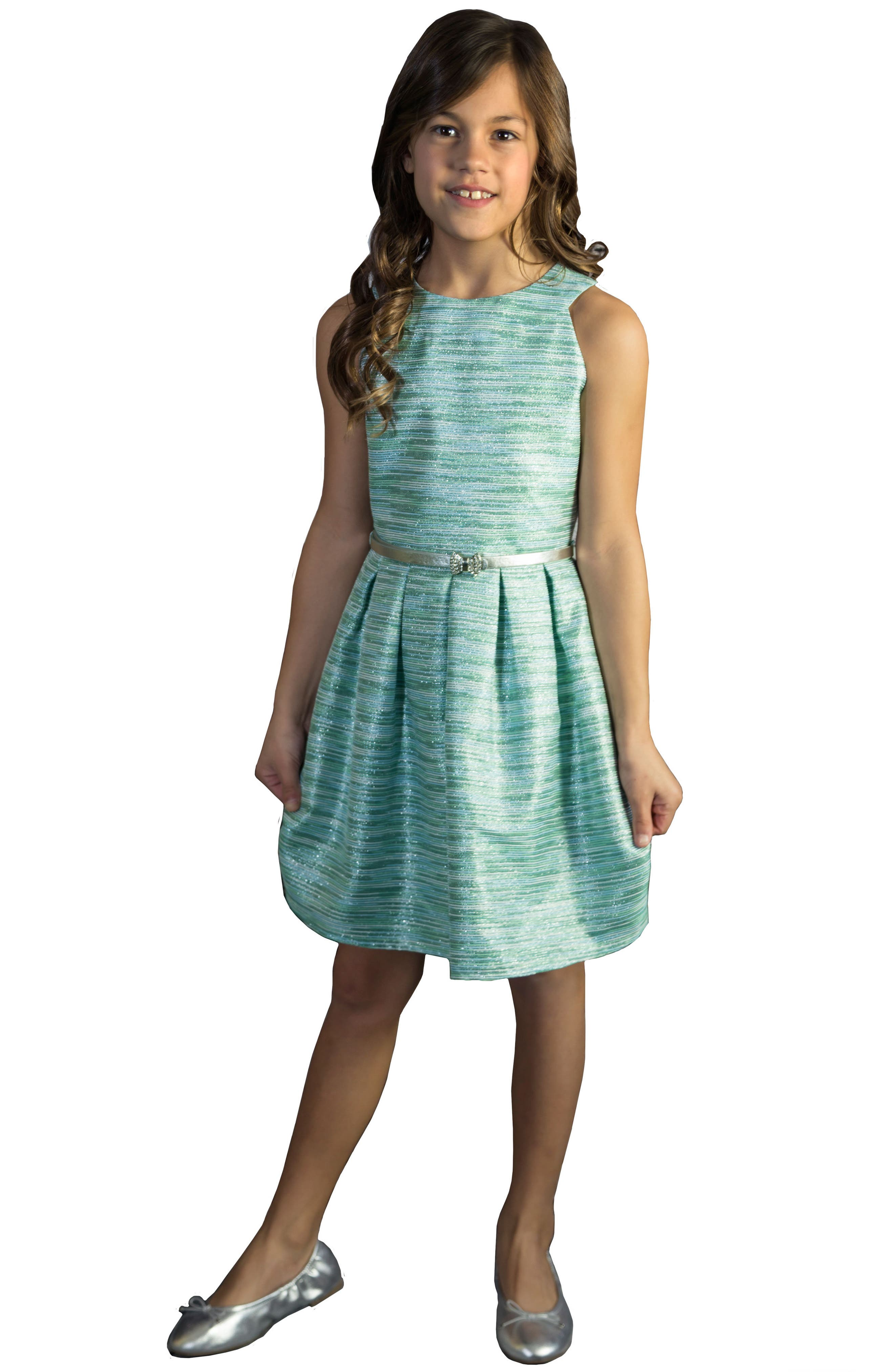 Main Image - BLUSH by Us Angels Metallic Party Dress (Big Girls)