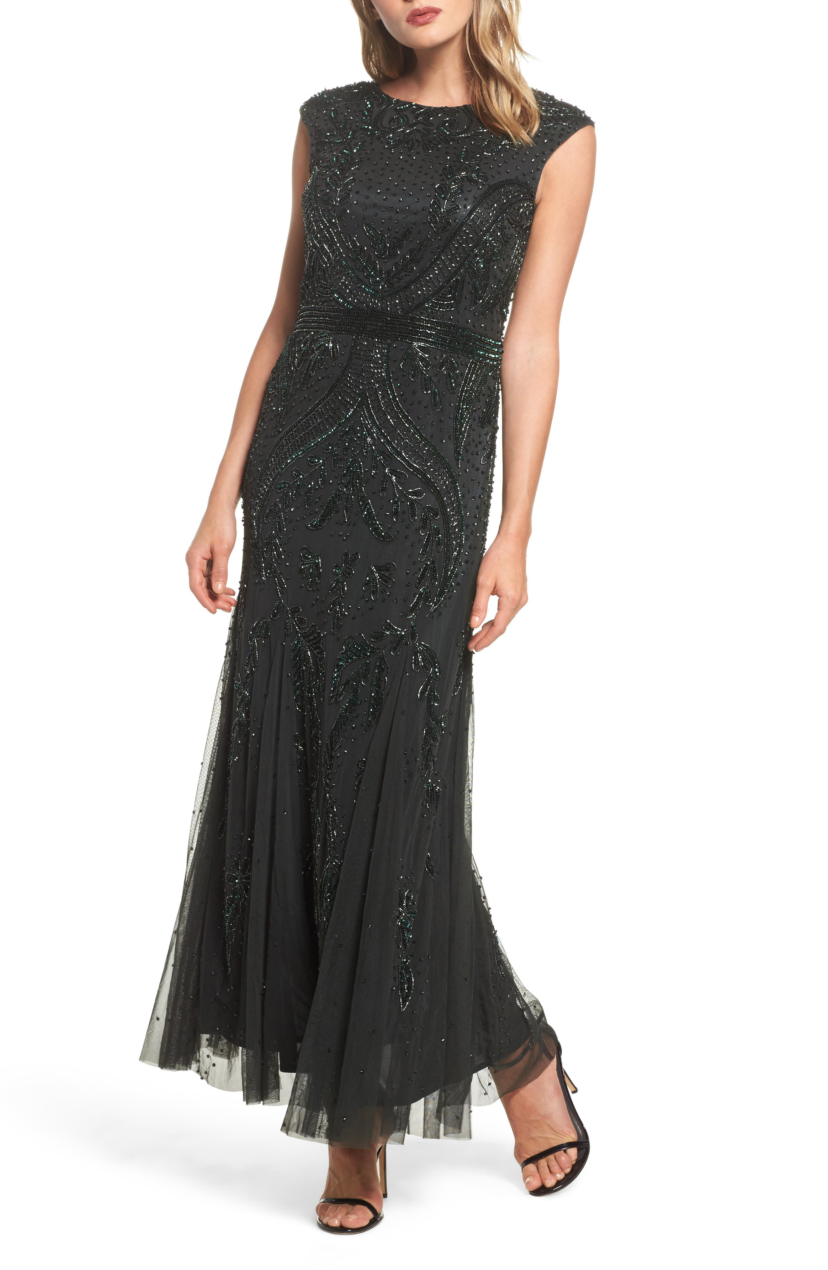 Embellished Mesh Godet Gown,                         Main,                         color, Hunter