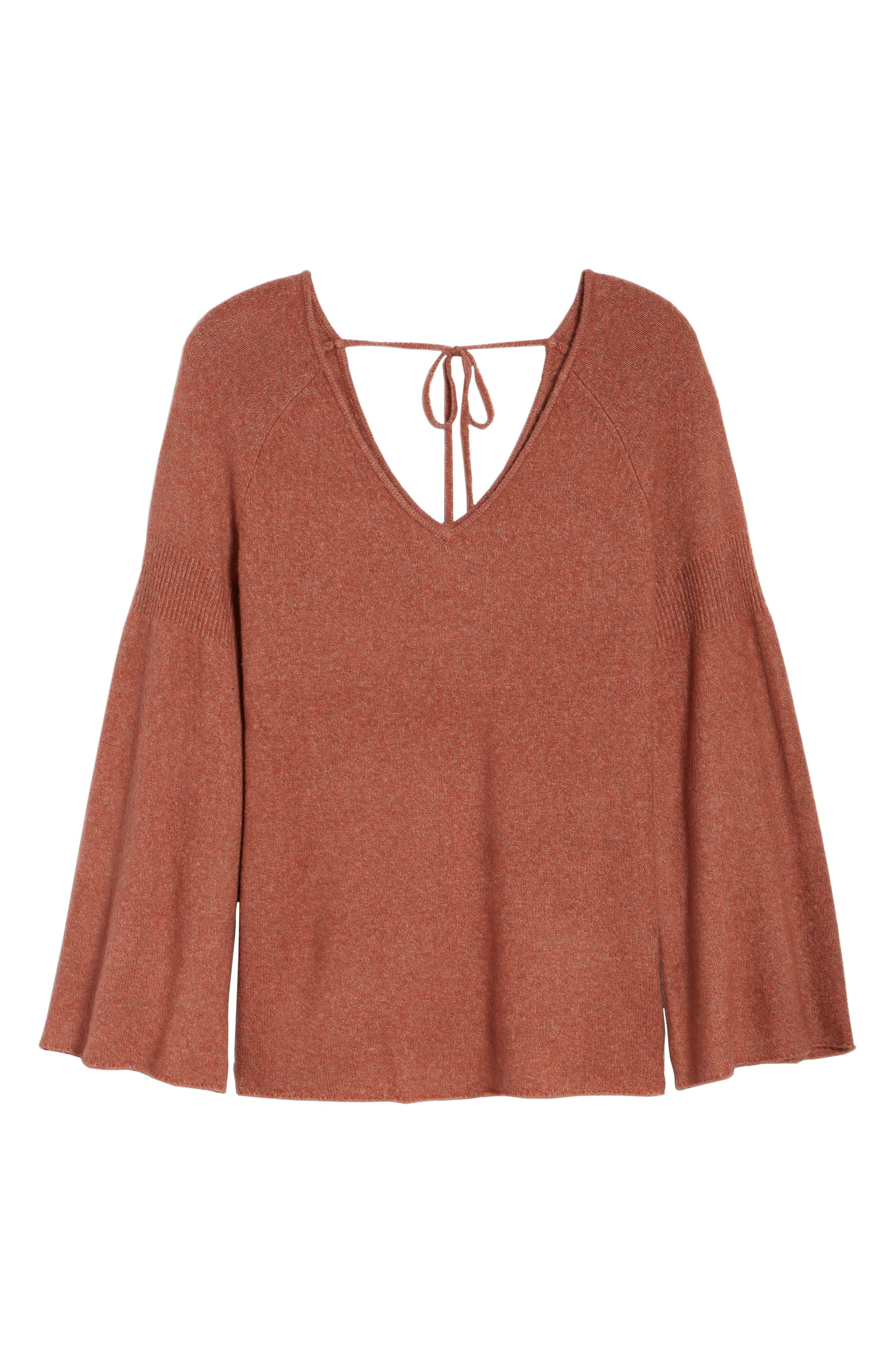 Bell Sleeve Sweater,                             Alternate thumbnail 5, color,                             Coral Rose Tea Rainbow Multi