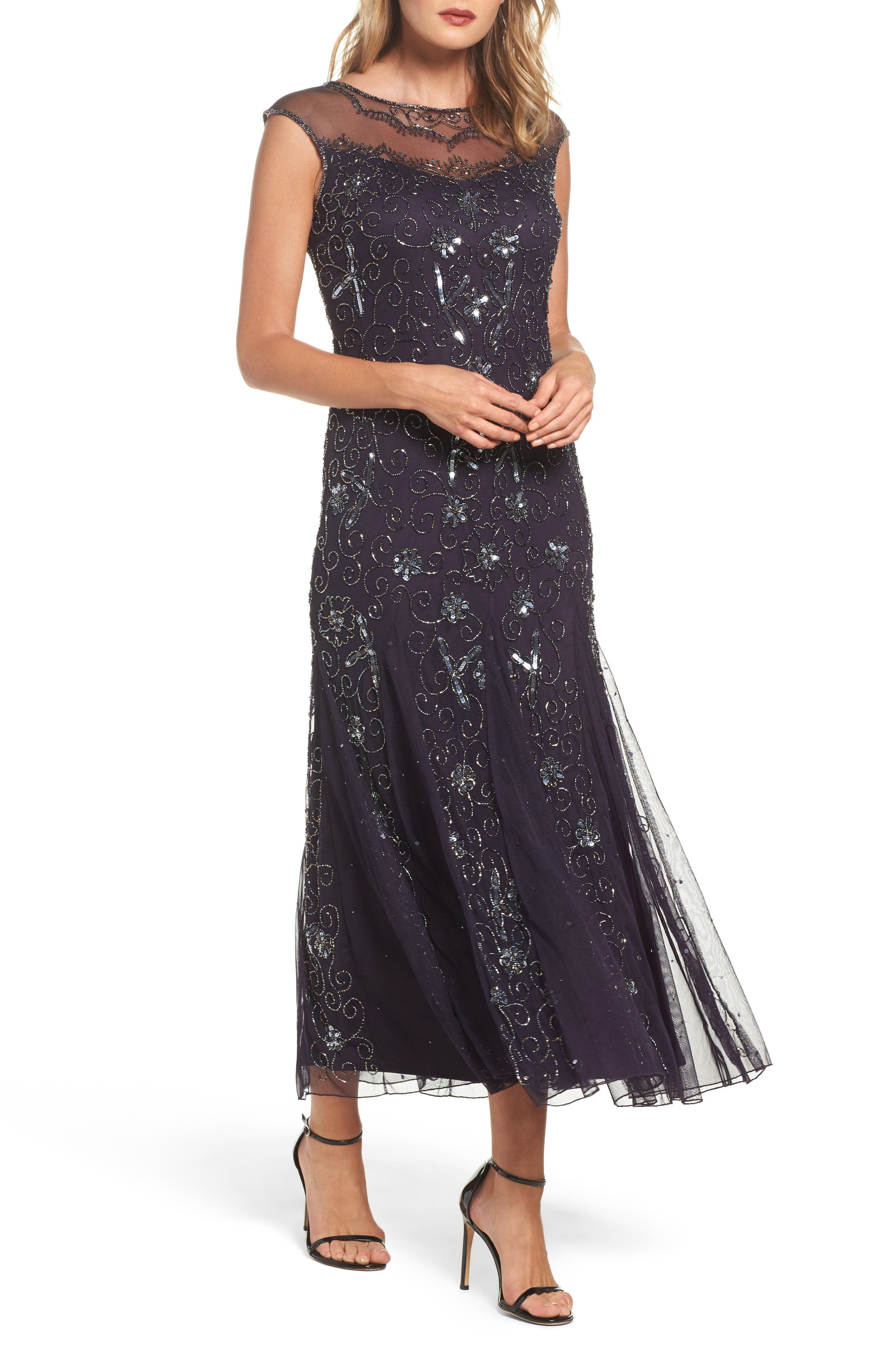 Main Image - Pisarro Nights Embellished Midi Dress (Regular & Petite)