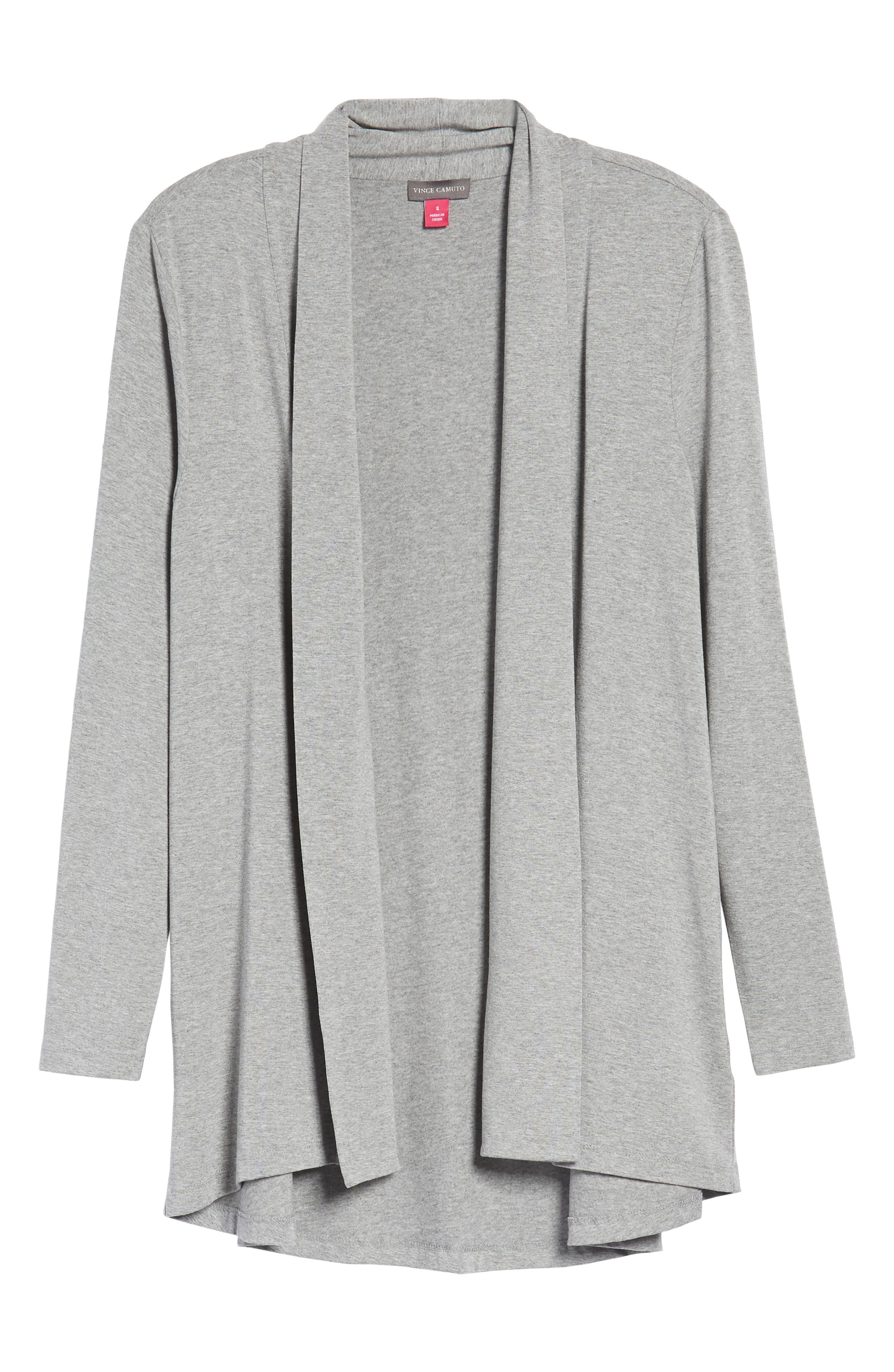 Open Front Cardigan,                             Alternate thumbnail 6, color,                             Light Heather Grey