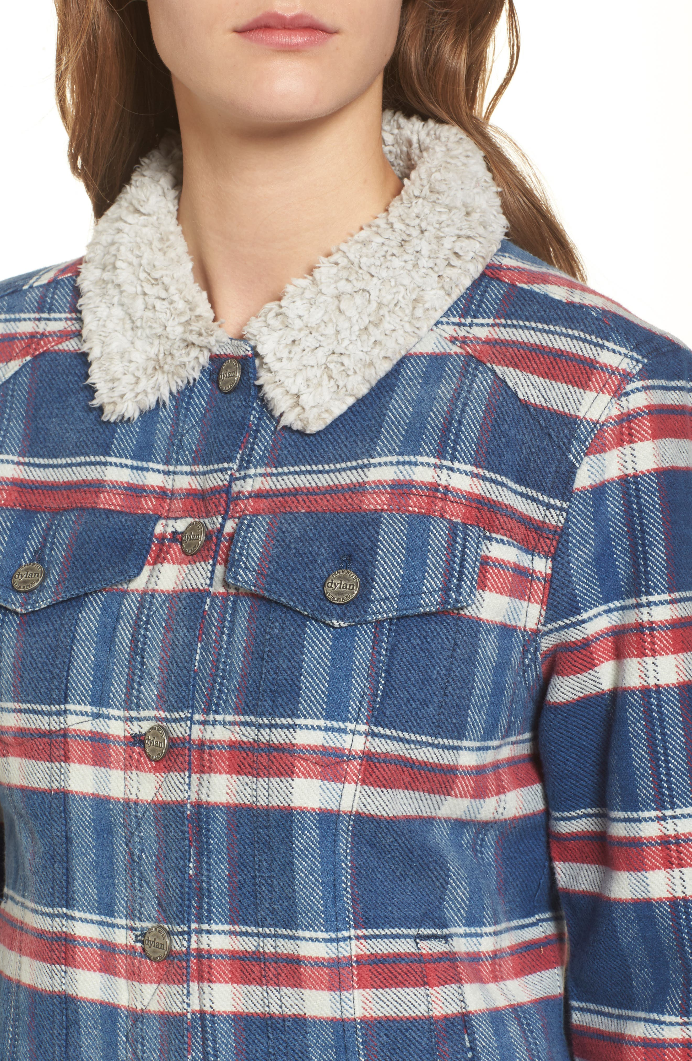 Alternate Image 4  - Dylan Ella Plaid Denim Jacket with Faux Shearling Collar