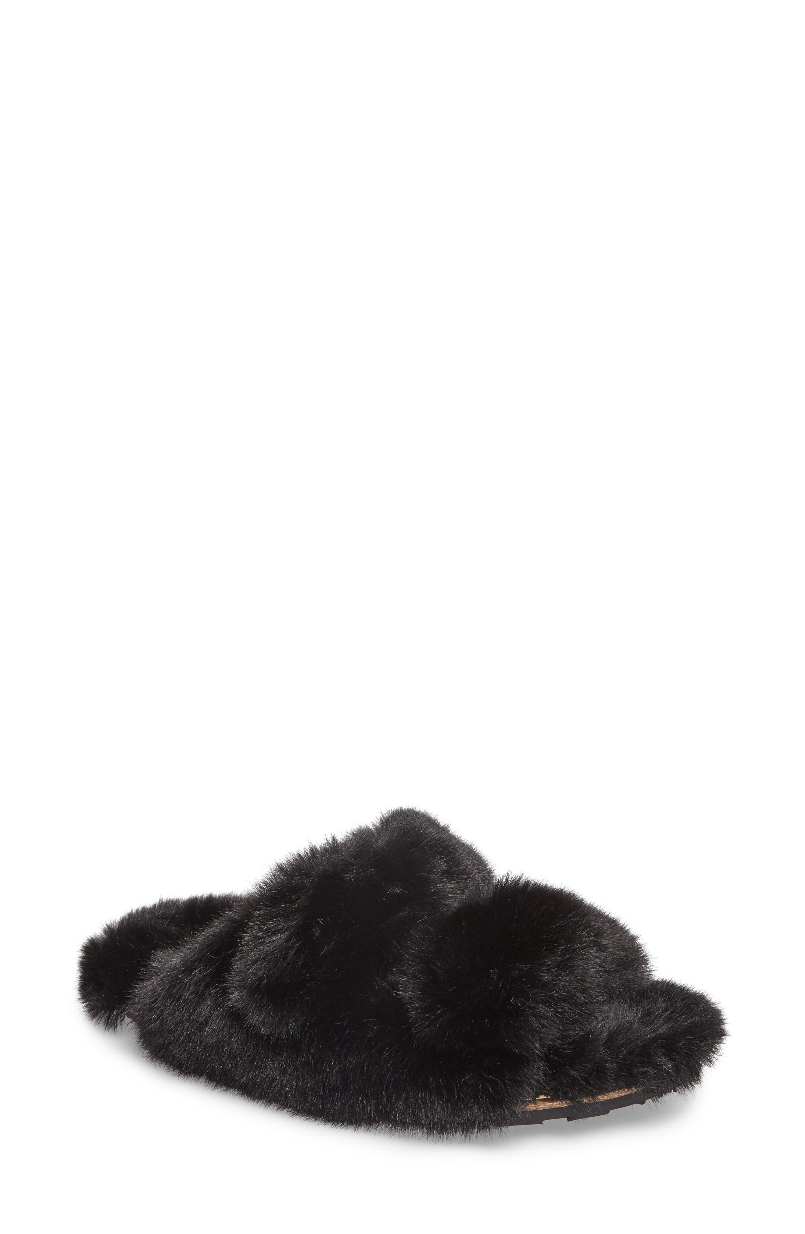 Faux Fur Sandal,                         Main,                         color, Black