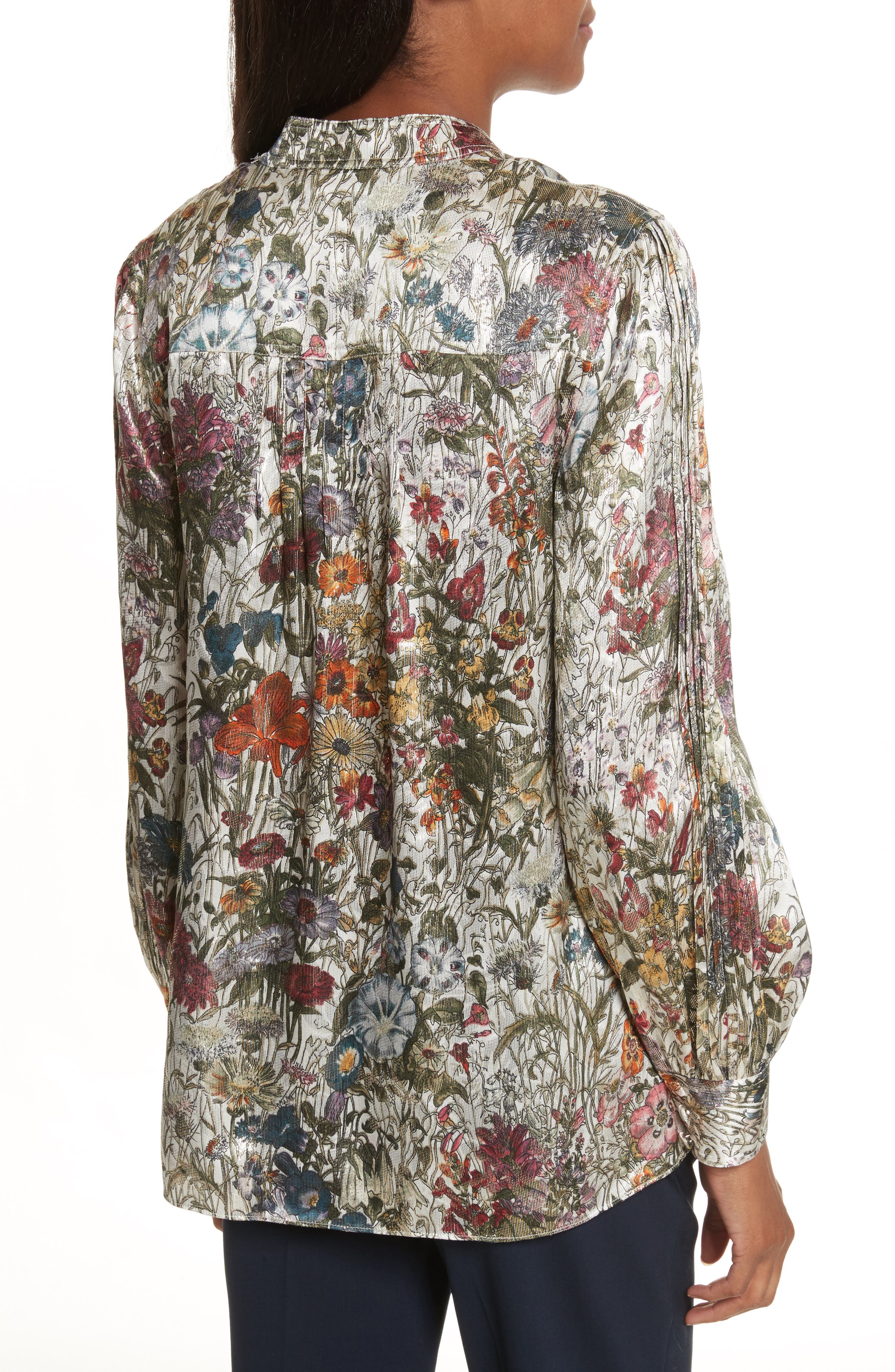 Heidi Metallic Floral Blouse,                             Alternate thumbnail 2, color,                             Melody Floral