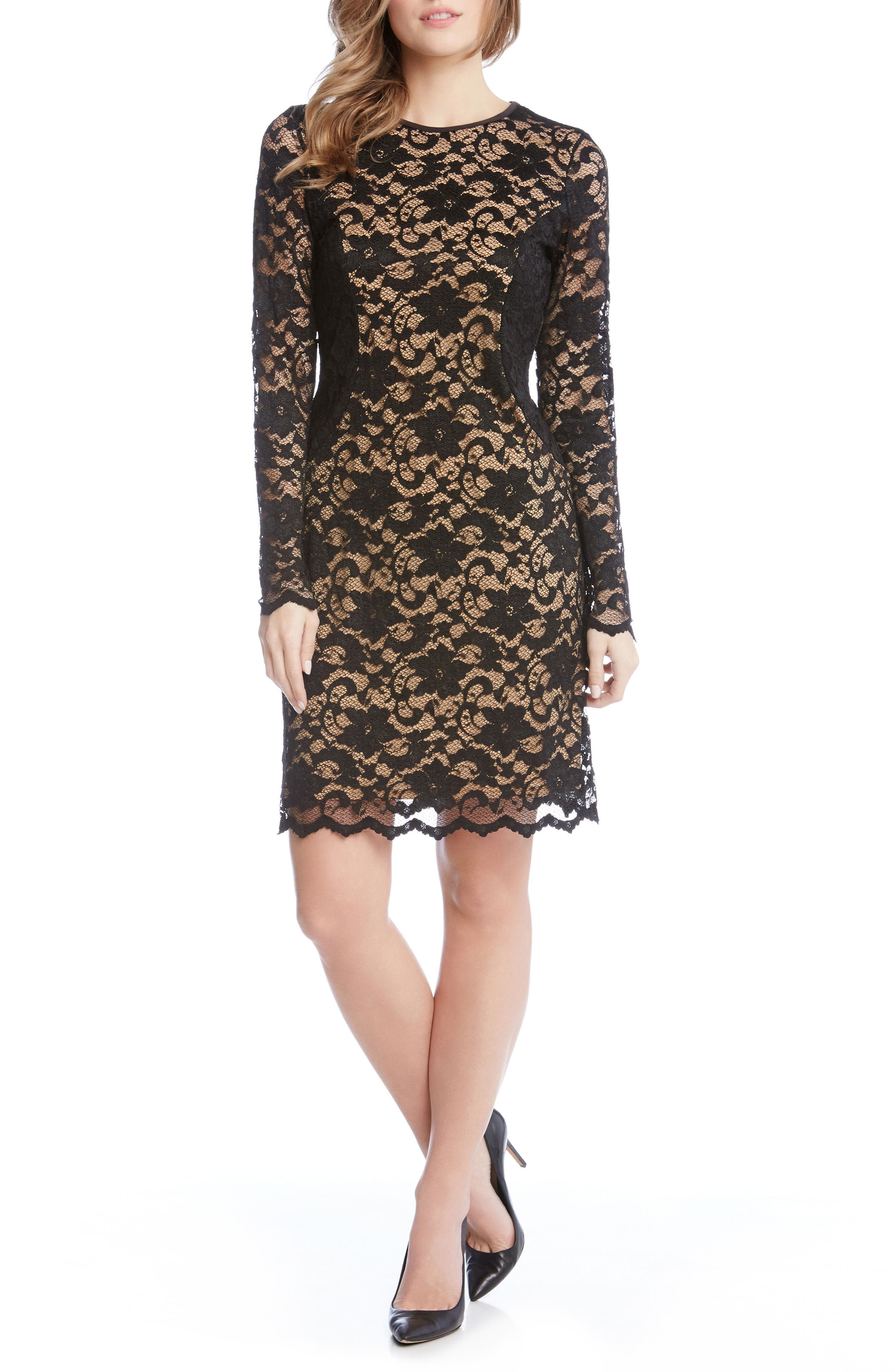 Contrast Side Lace Sheath Dress,                             Alternate thumbnail 3, color,                             Black/ Nude