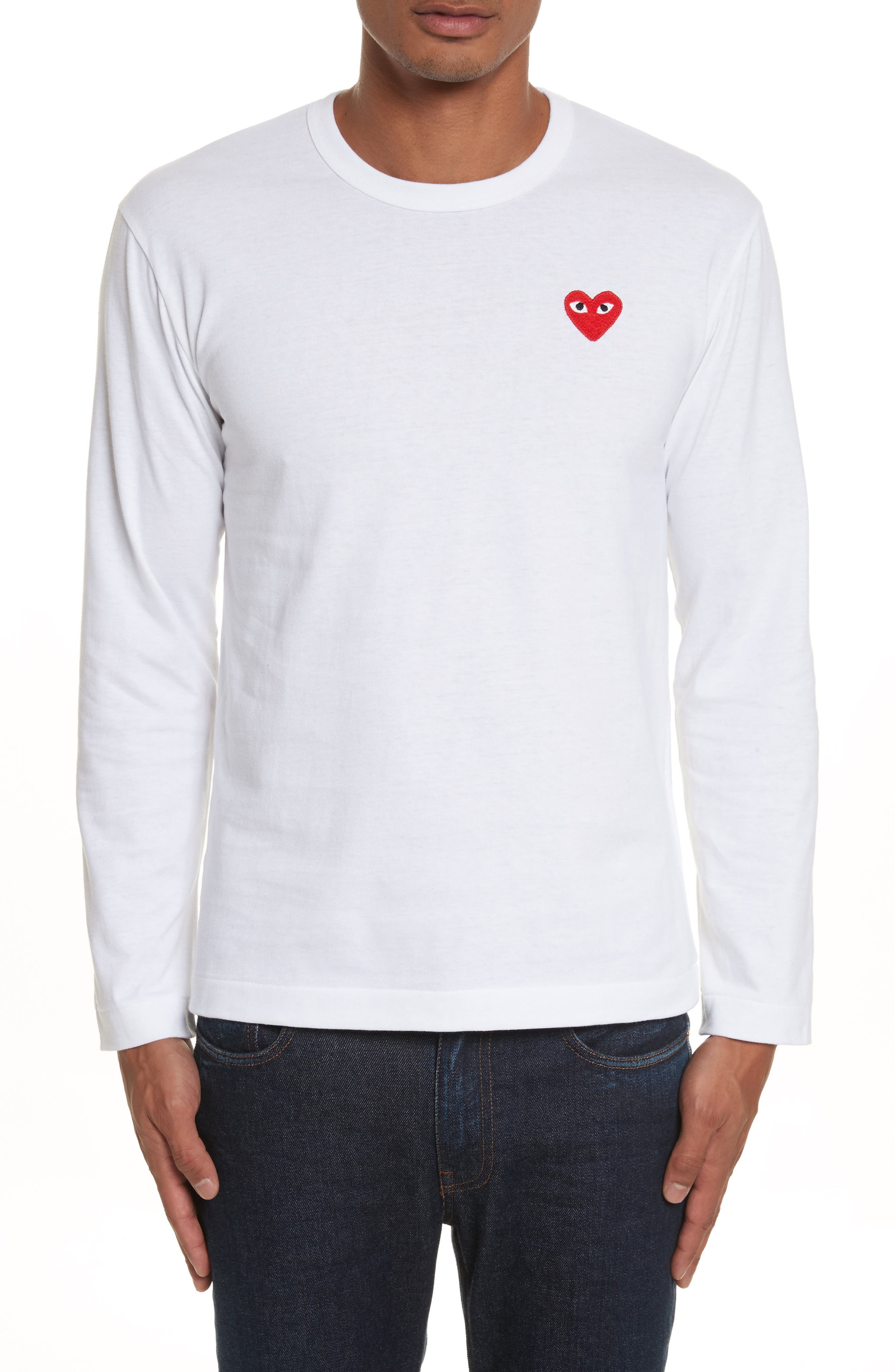 PLAY Long Sleeve T-Shirt,                         Main,                         color, White