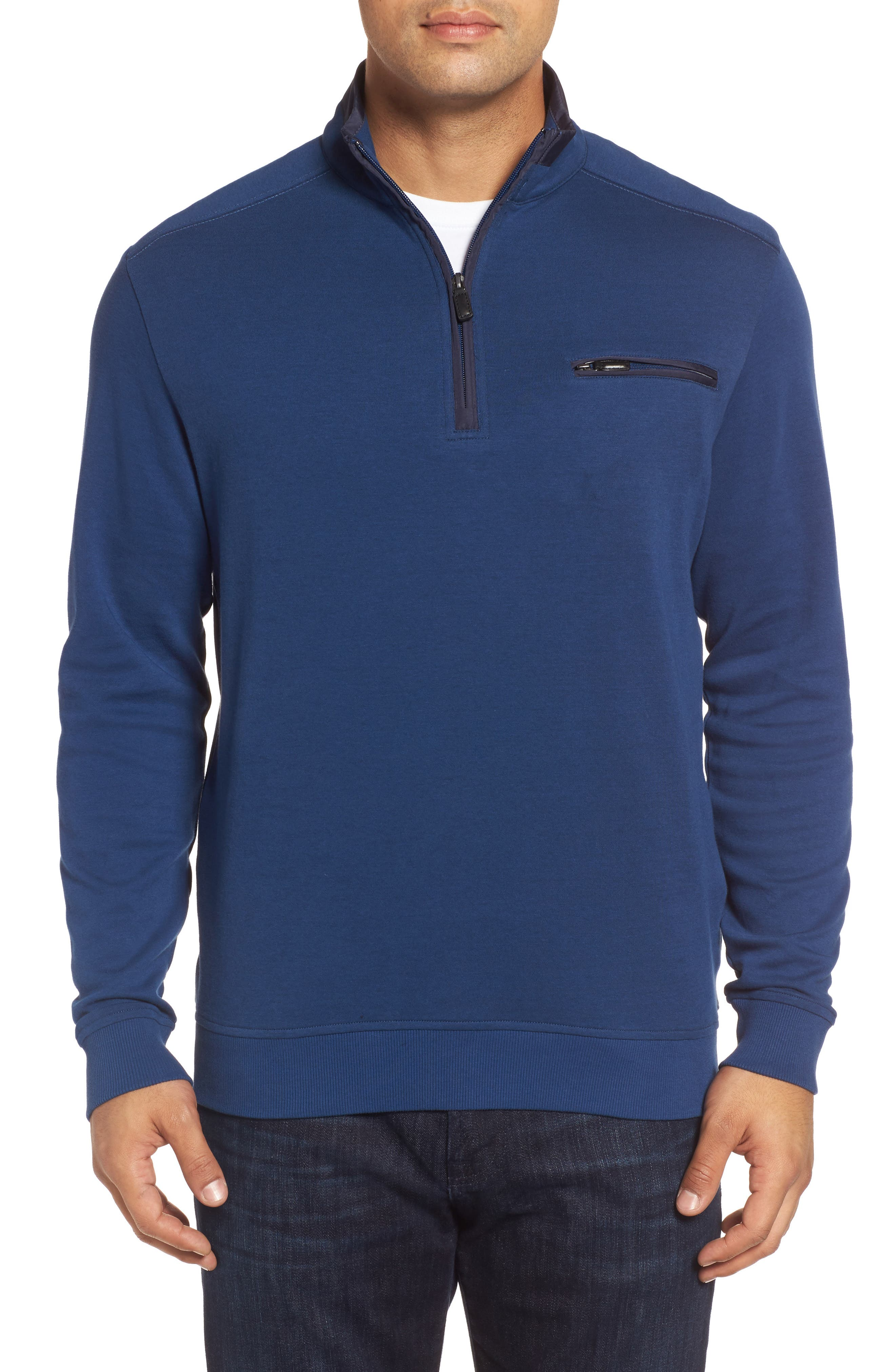 Classic Fit Solid Quarter Zip Pullover,                         Main,                         color, Navy