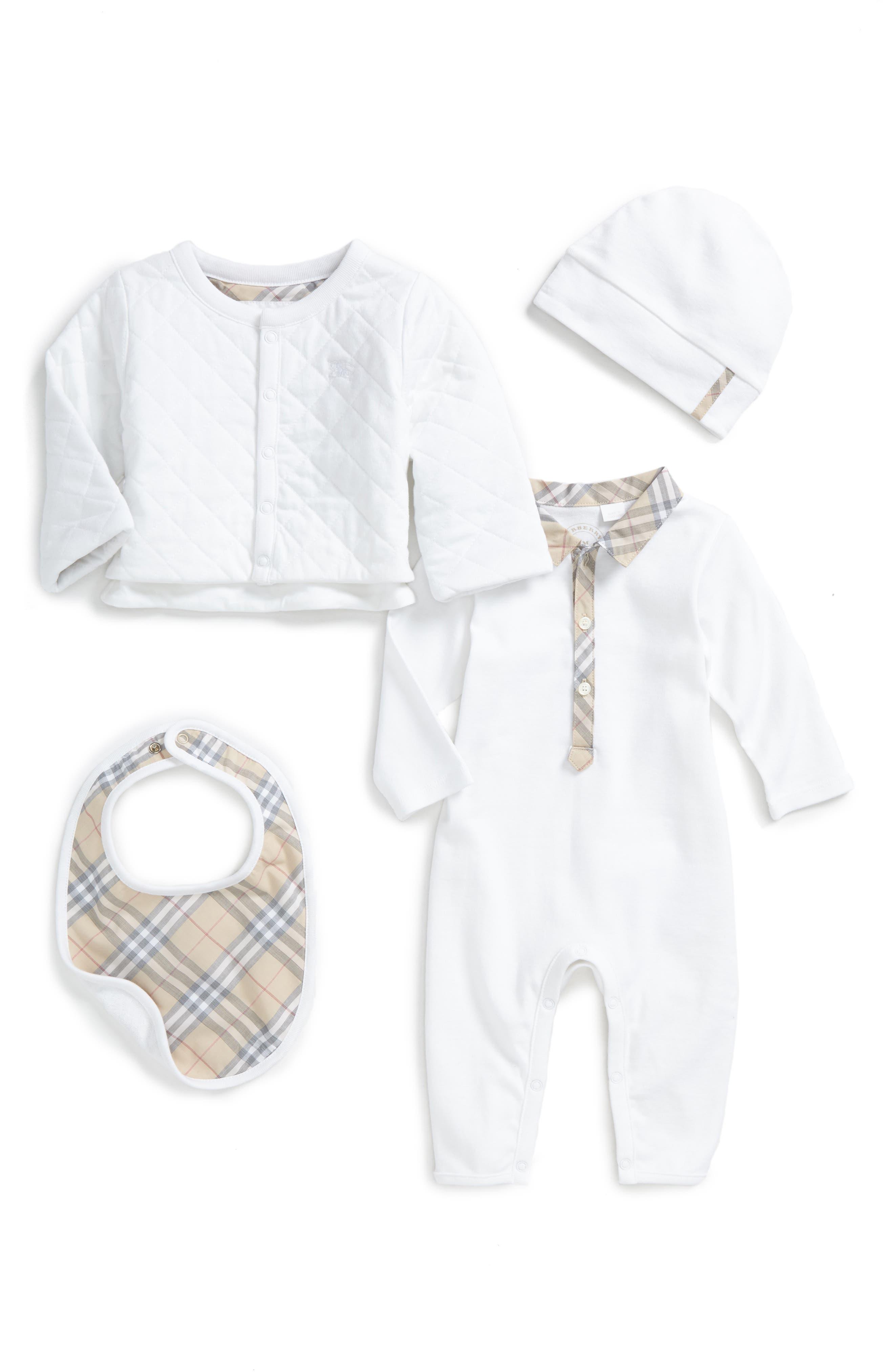Burberry Zayden Romper, Jacket, Hat & Bib Set (Baby Girls)