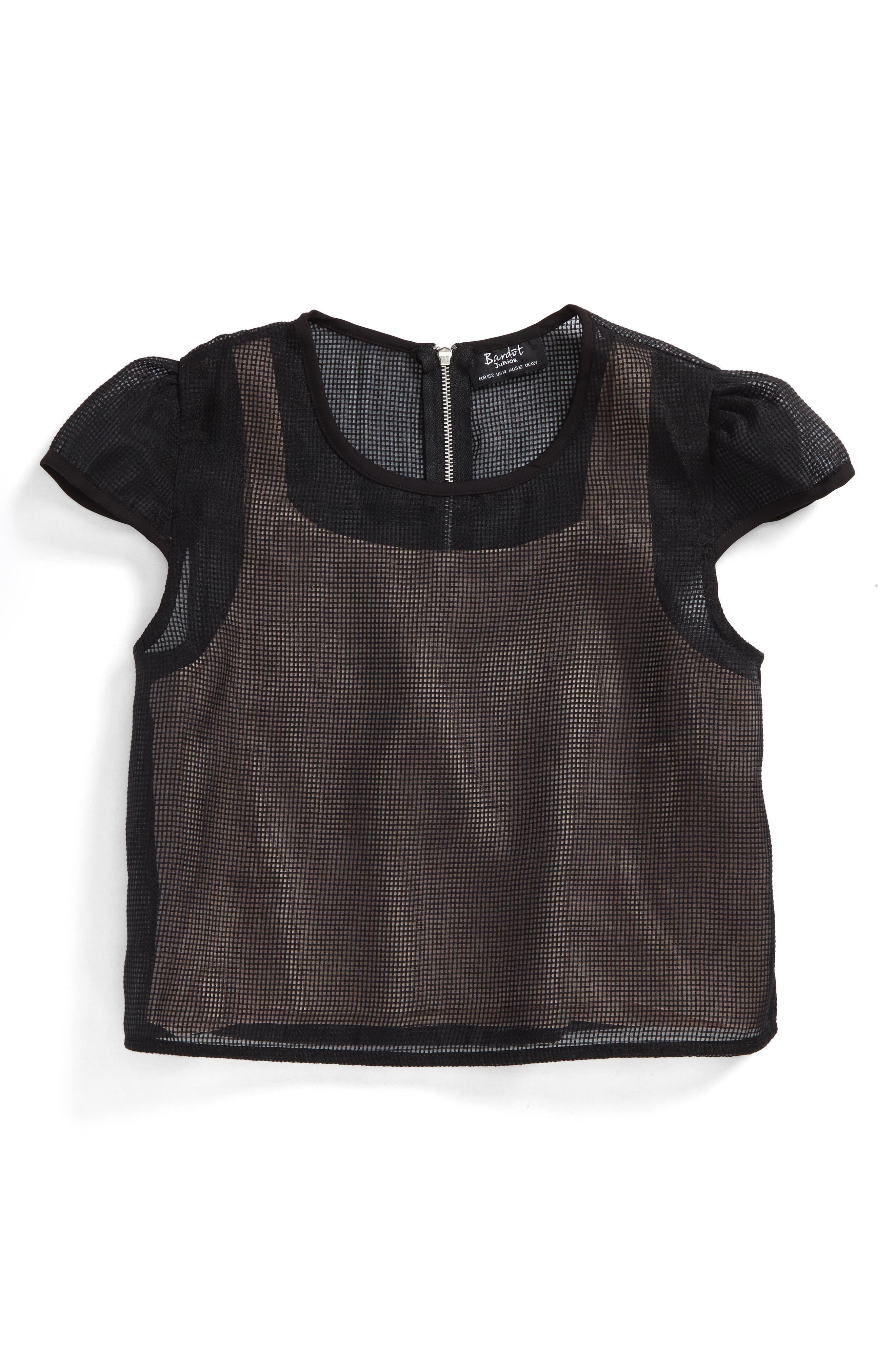 Blaire Mesh Top,                         Main,                         color, Black