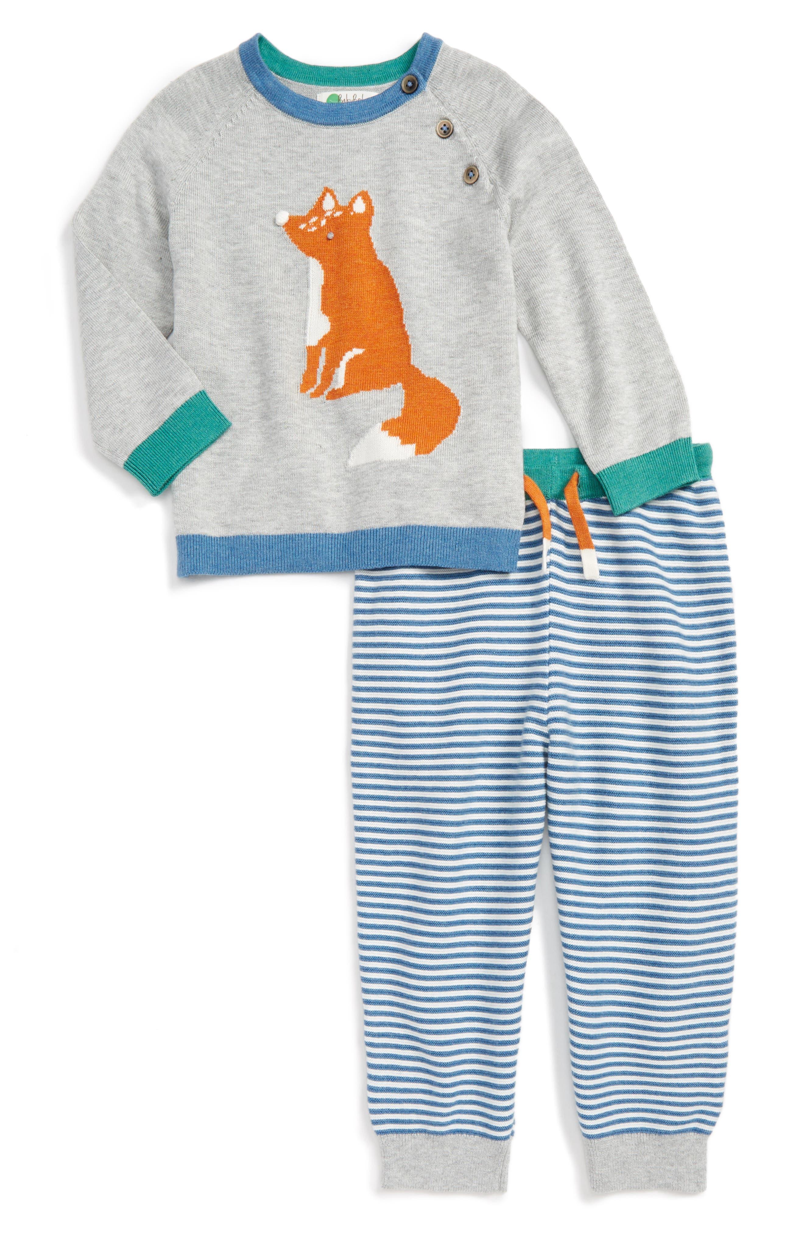 Mini Boden Fun Knit Sweater & Pants Set (Baby Boys & Toddler Boys)