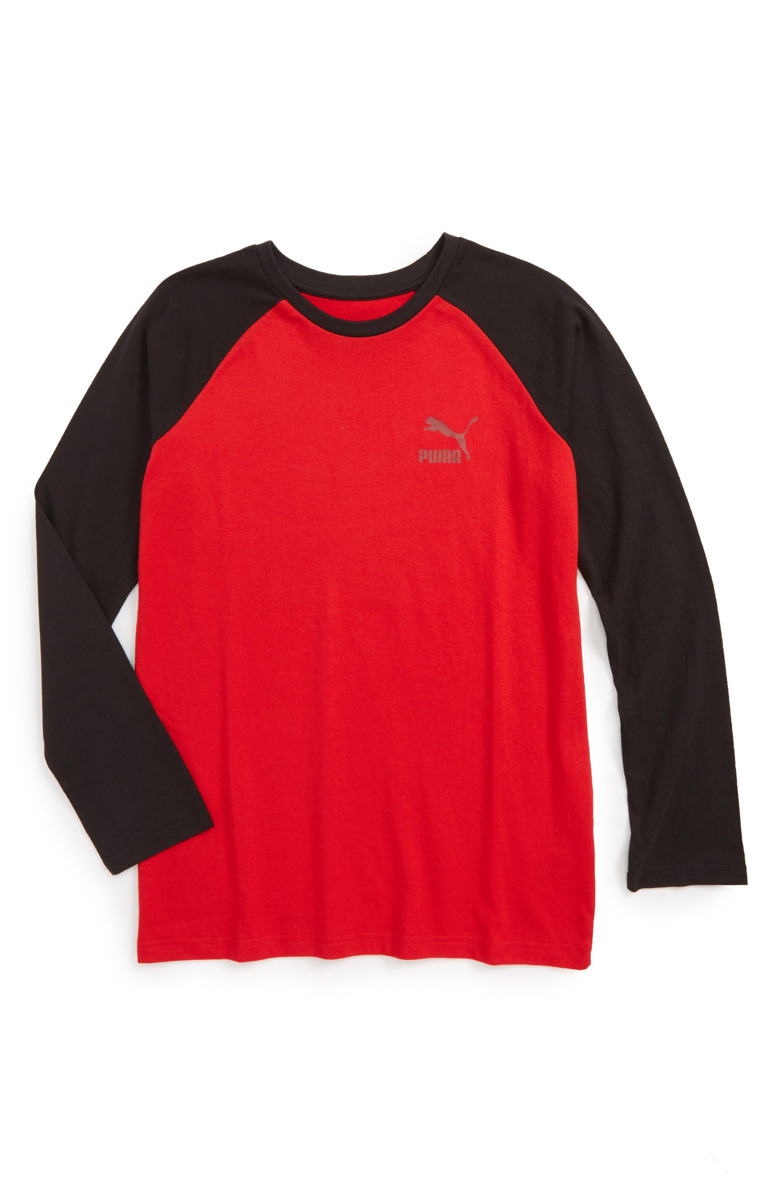 Main Image - Puma Logo Raglan T-Shirt (Big Boys)