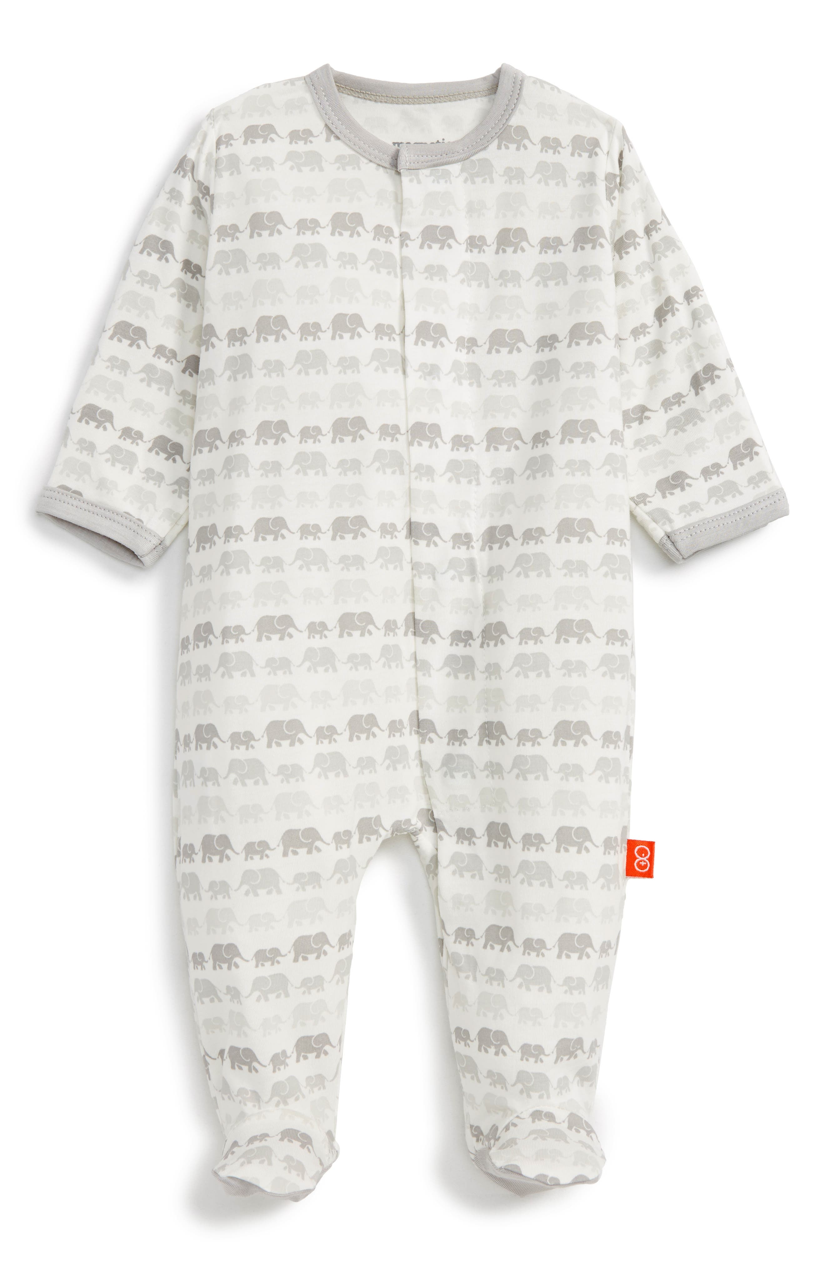 Fitted One-Piece Pajamas,                         Main,                         color, Grey Elephants