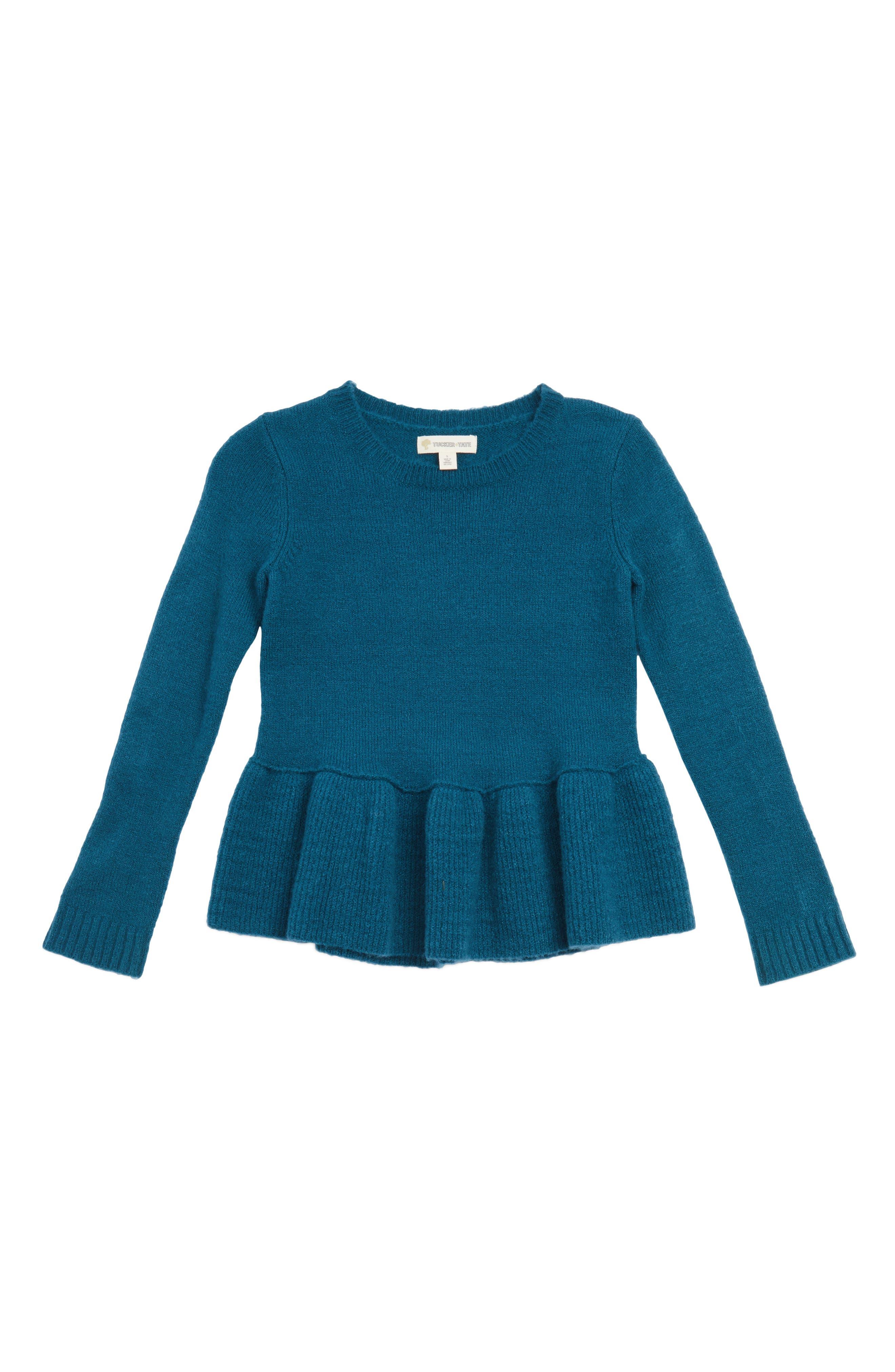 Ruffle Hem Sweater,                         Main,                         color, Teal Coral