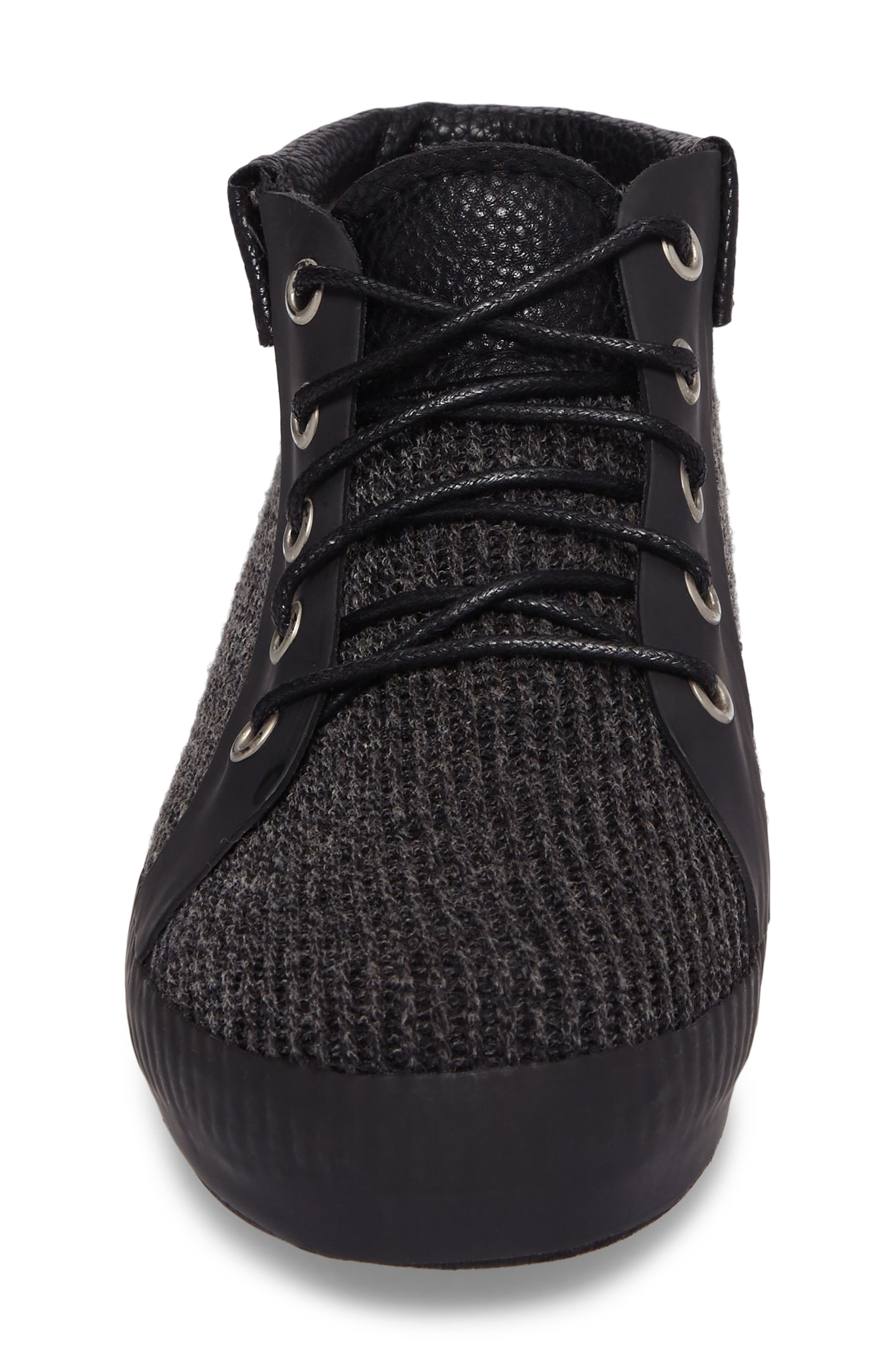 Hampton Waterproof Mid Sneaker,                             Alternate thumbnail 4, color,                             Black Fabric