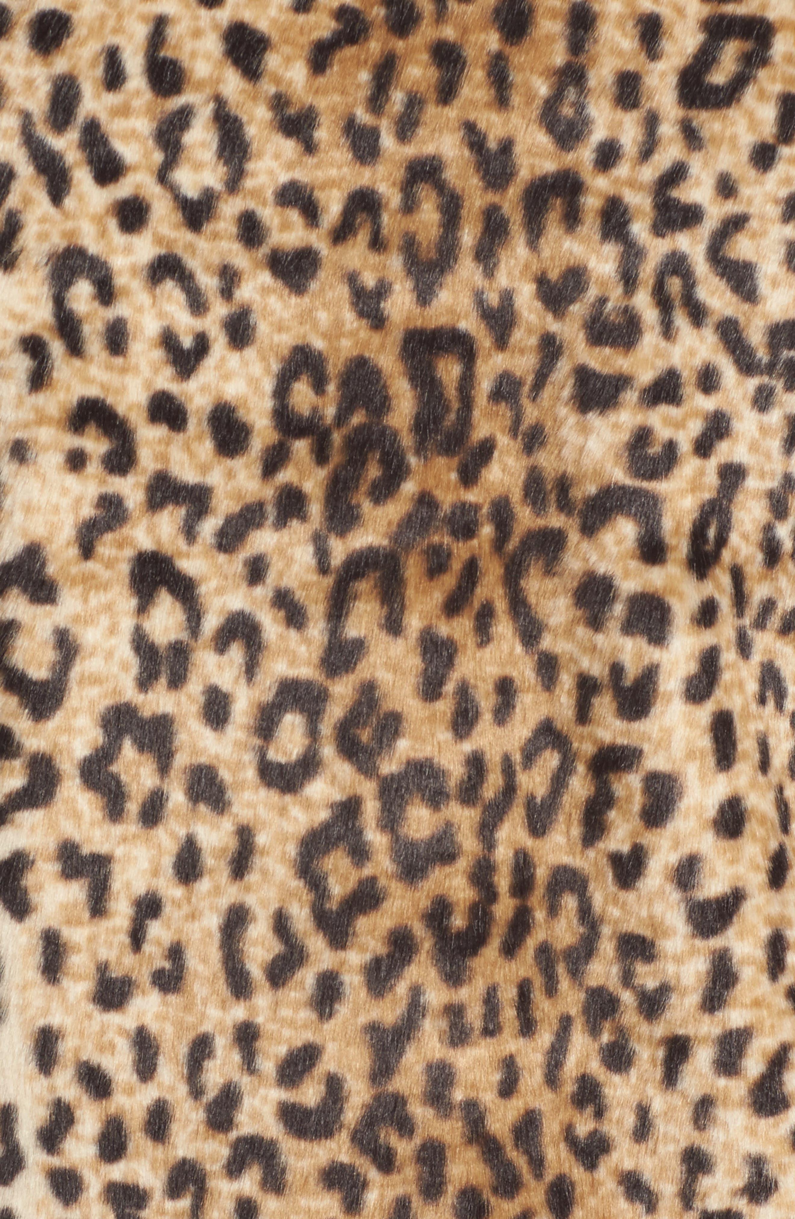Alternate Image 5  - Chelsea28 Leopard Print Faux Fur Jacket