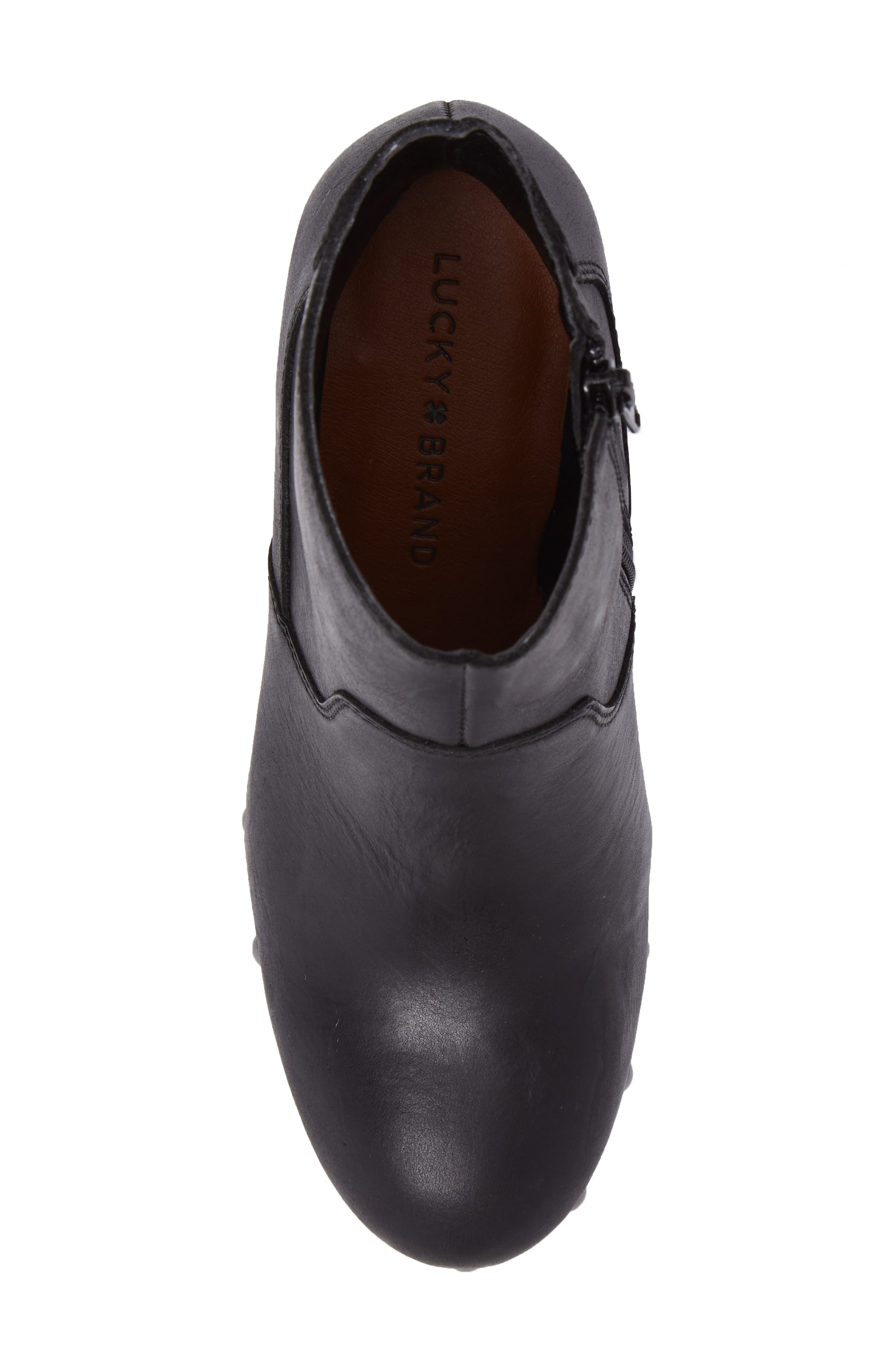 Yasamin Bootie,                             Alternate thumbnail 5, color,                             Black Leather