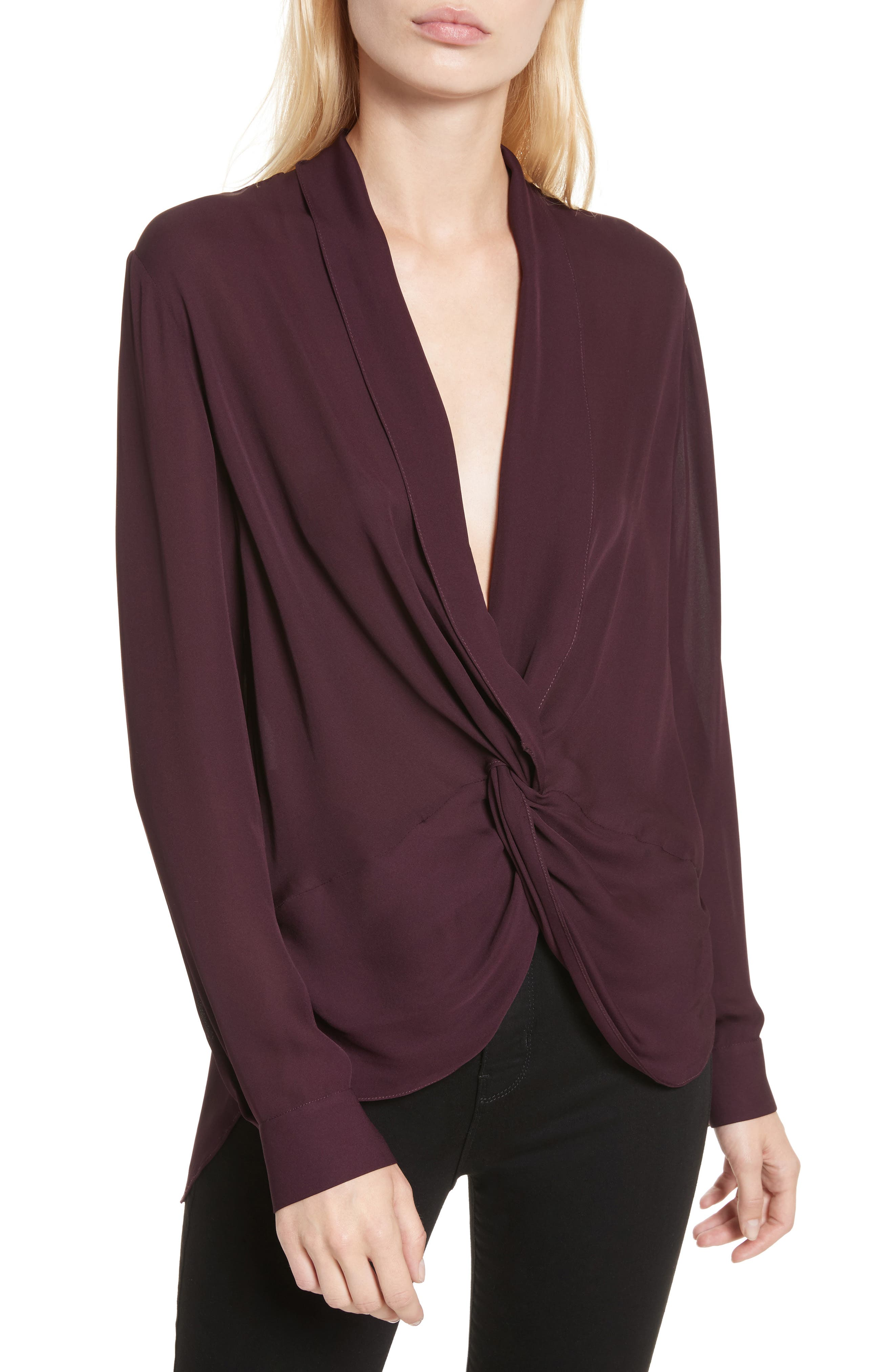 Alternate Image 1 Selected - L'AGENCE Twist Front Silk Blouse