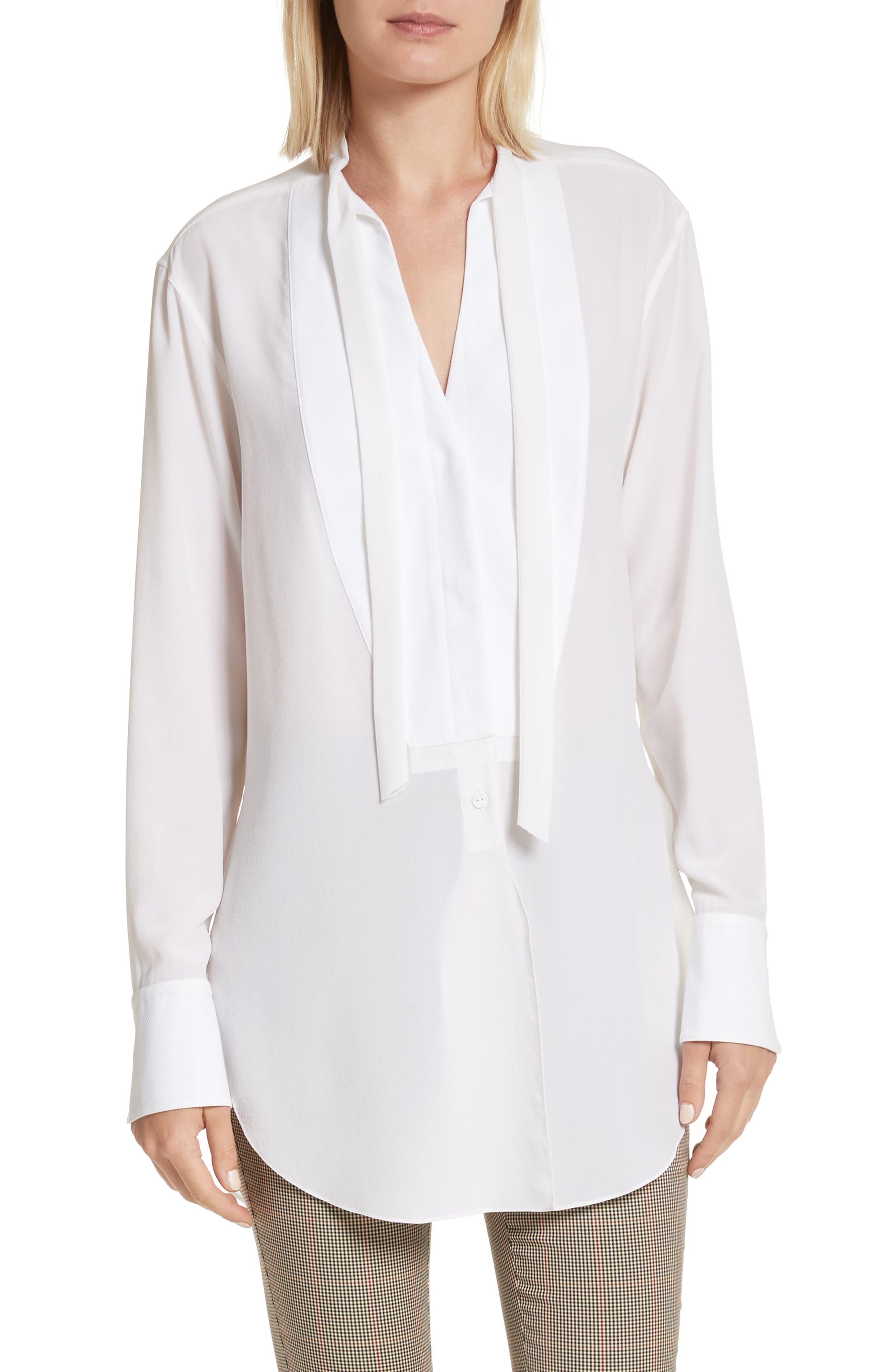 Frida Silk Tuxedo Blouse,                         Main,                         color, White