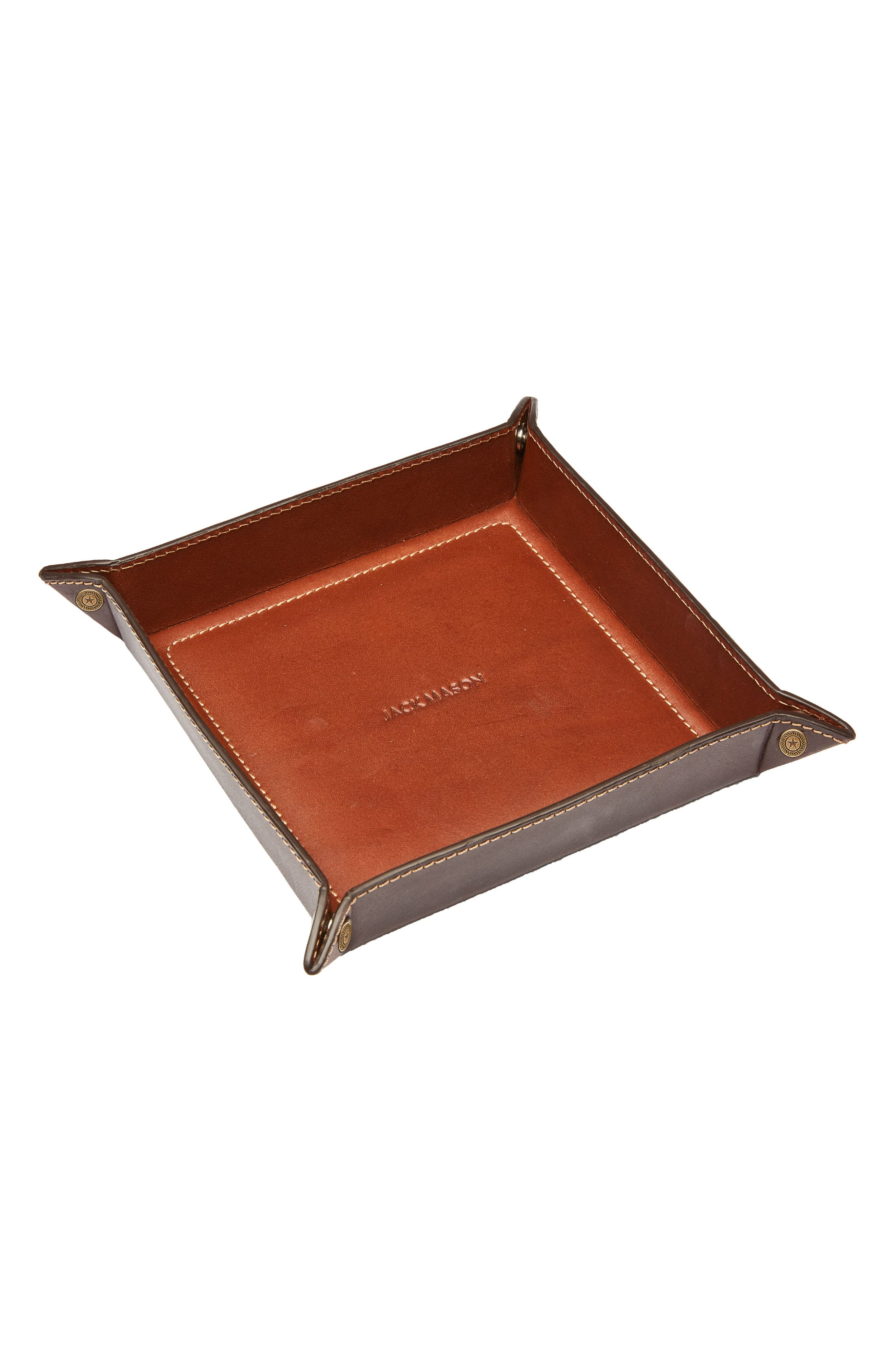 Small Pinched Leather Valet Tray,                         Main,                         color, Tan