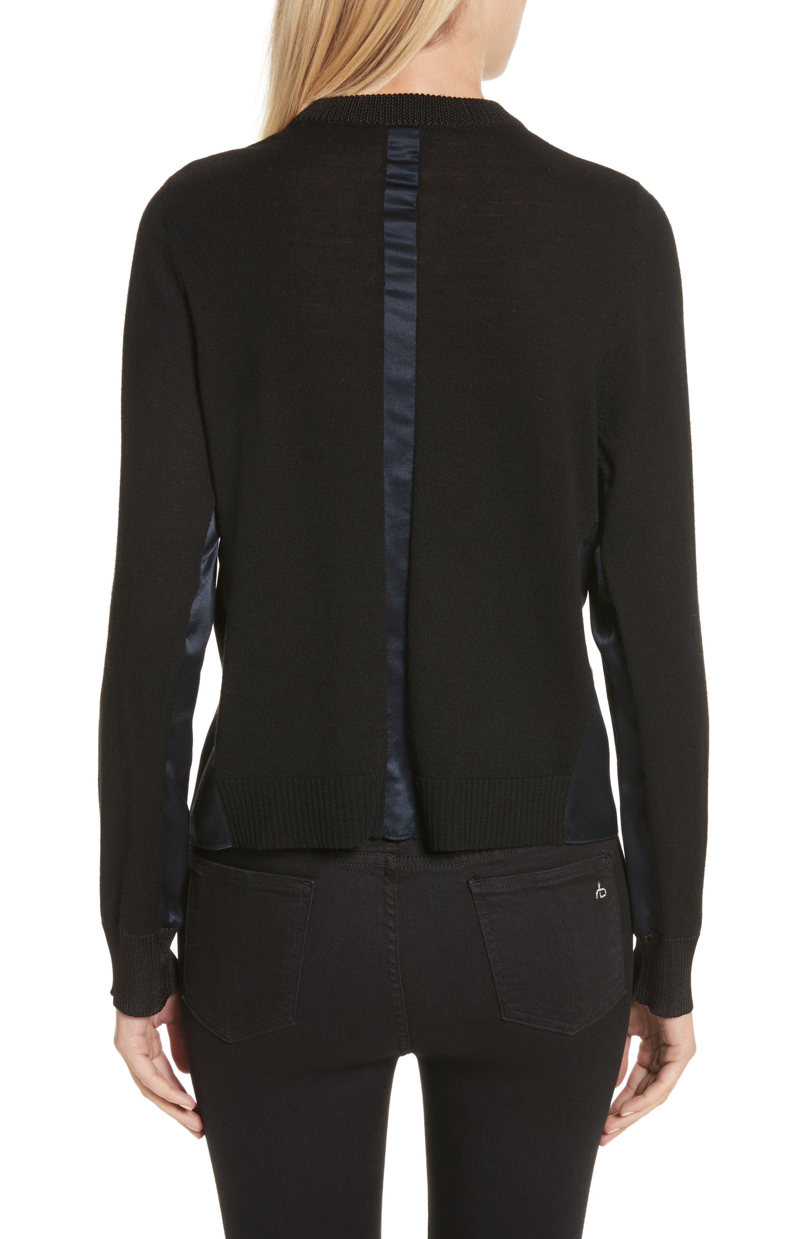 Sadie Merino Wool Blend & Silk Sweater,                             Alternate thumbnail 3, color,                             Black