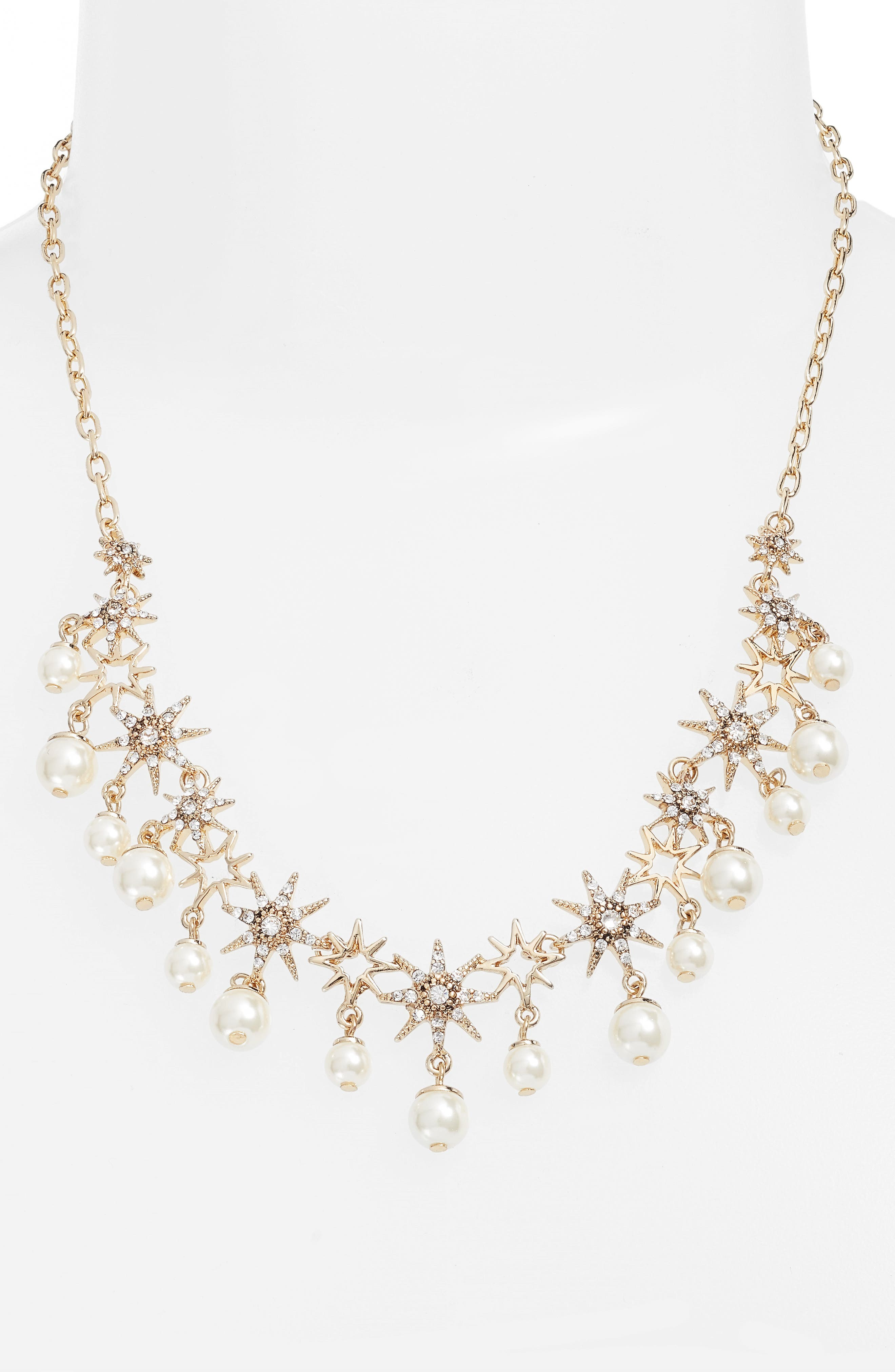 Star Collar Necklace,                             Main thumbnail 1, color,                             Gold/ Crystal/ Pearl