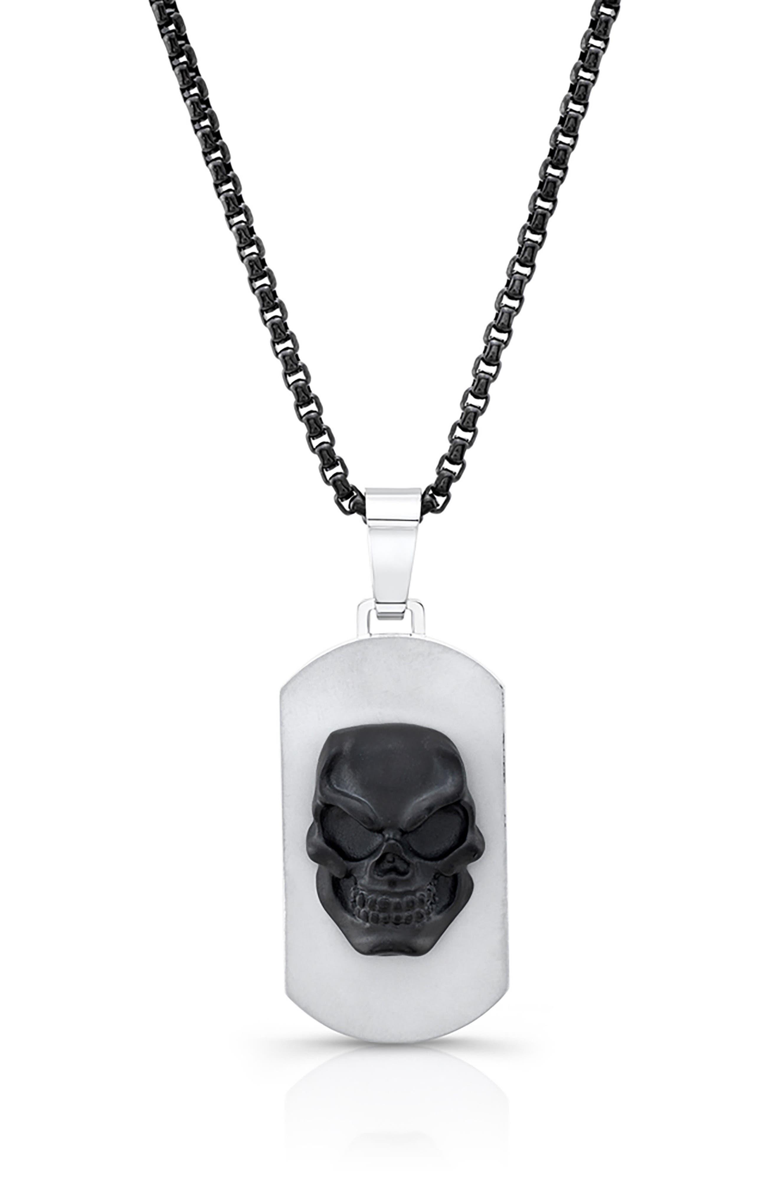 Skull Dog Tag Necklace,                         Main,                         color, Black/ Silver