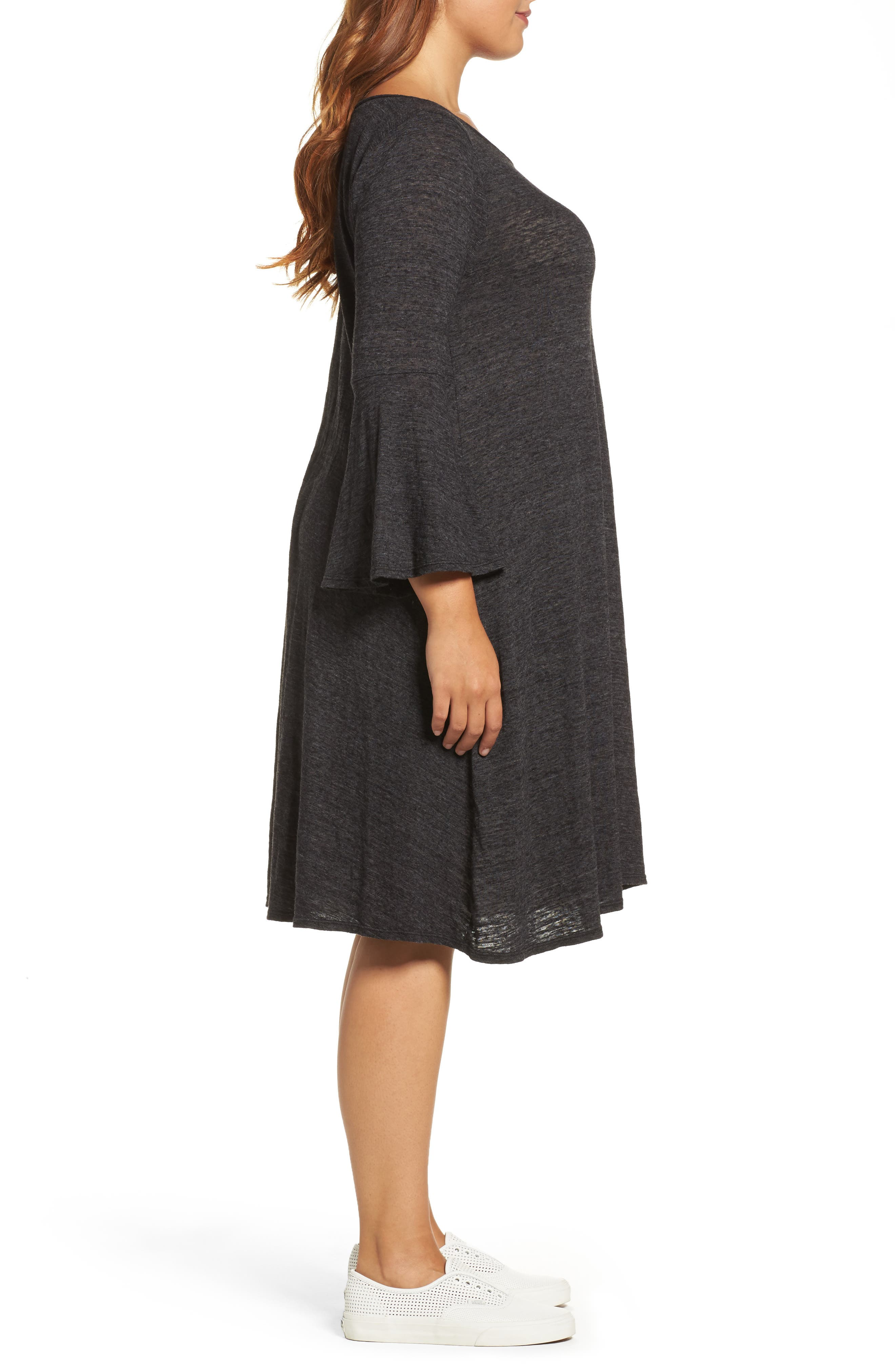 Alternate Image 3  - Three Dots Nepps Bell Sleeve Dress (Plus Size)
