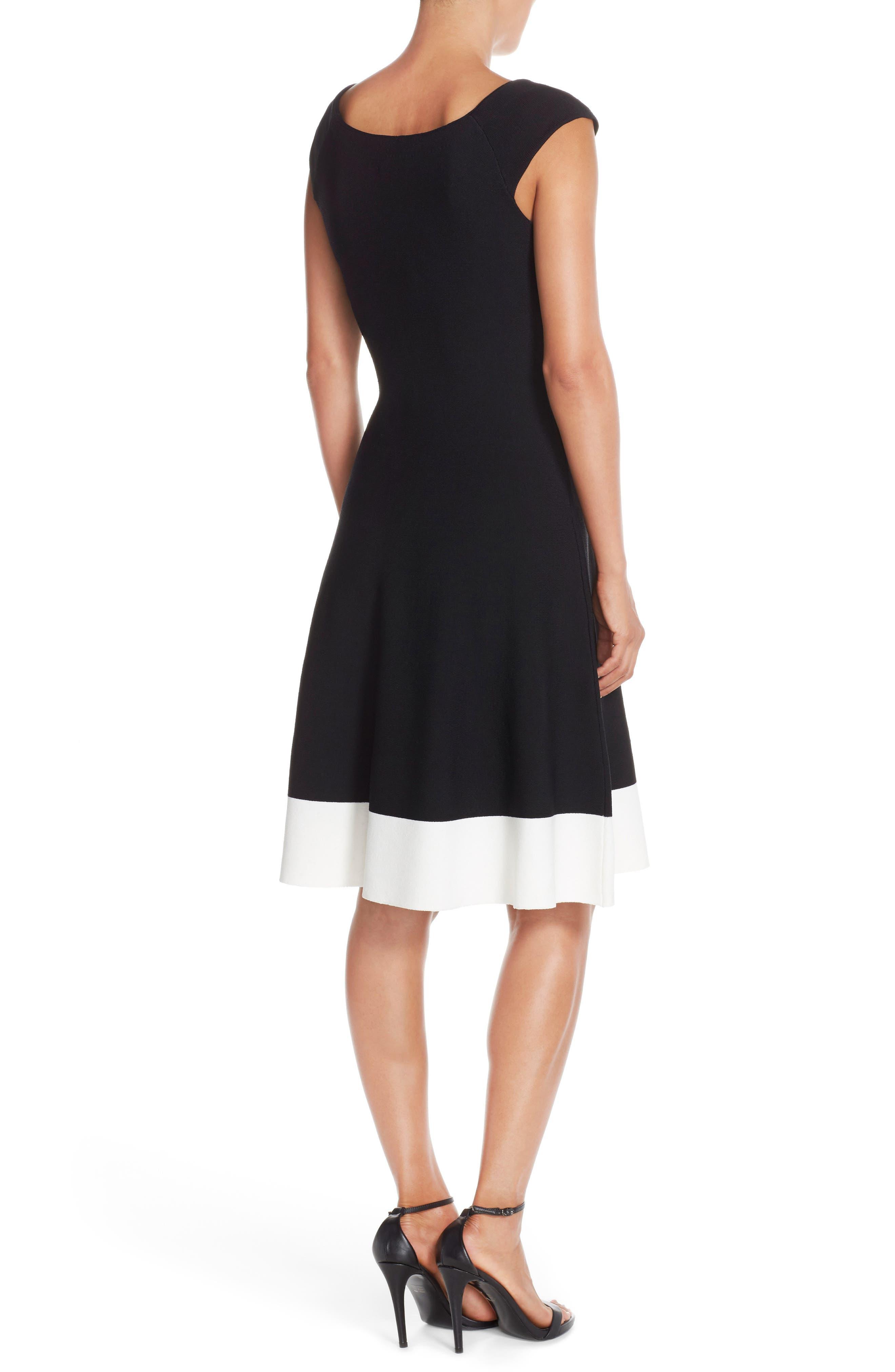 Colorblock Fit & Flare Sweater Dress,                             Alternate thumbnail 2, color,                             Black/ Ivory