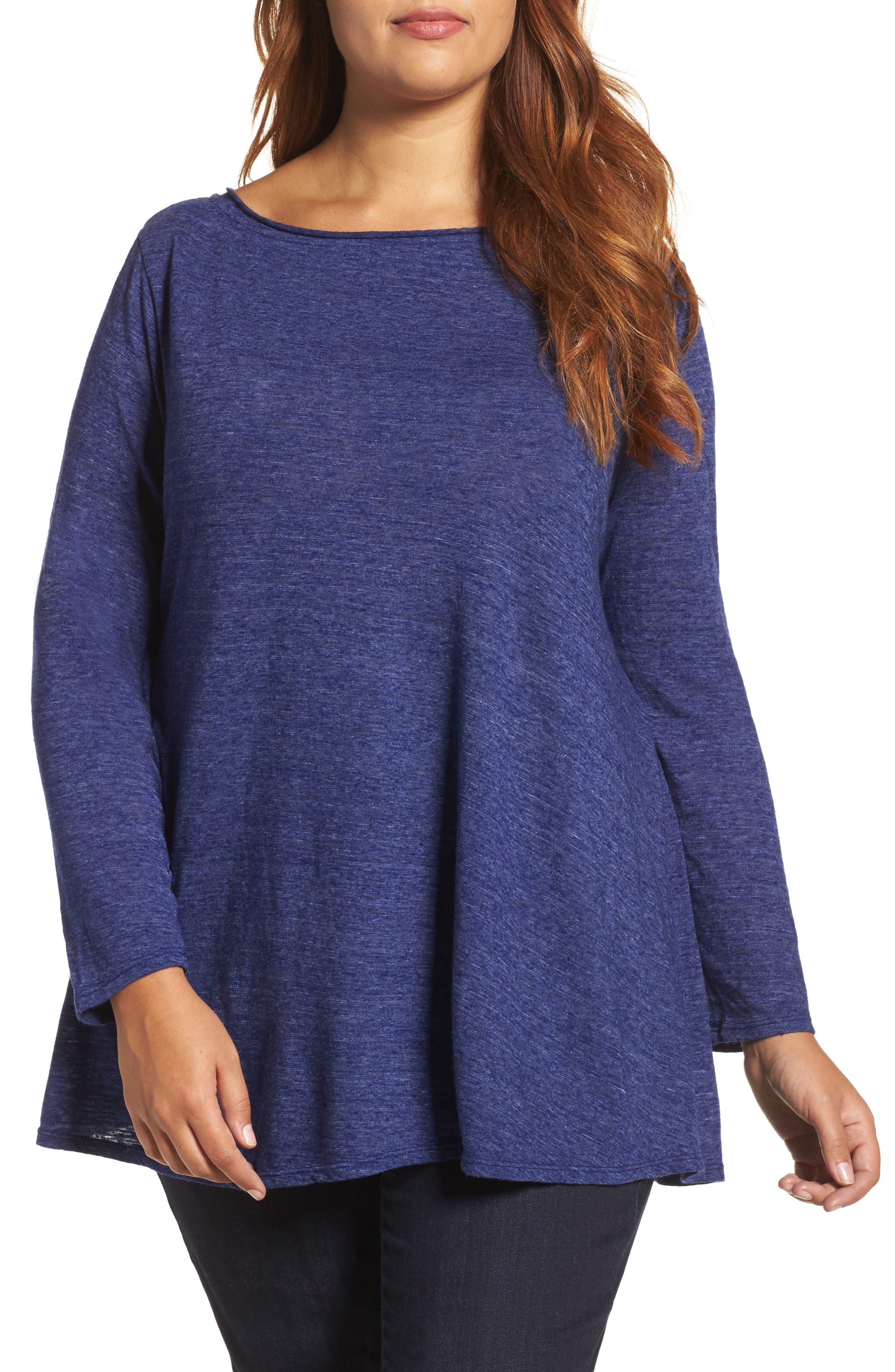 Main Image - Three Dots Nepps Swing Jersey Tunic (Plus Size)