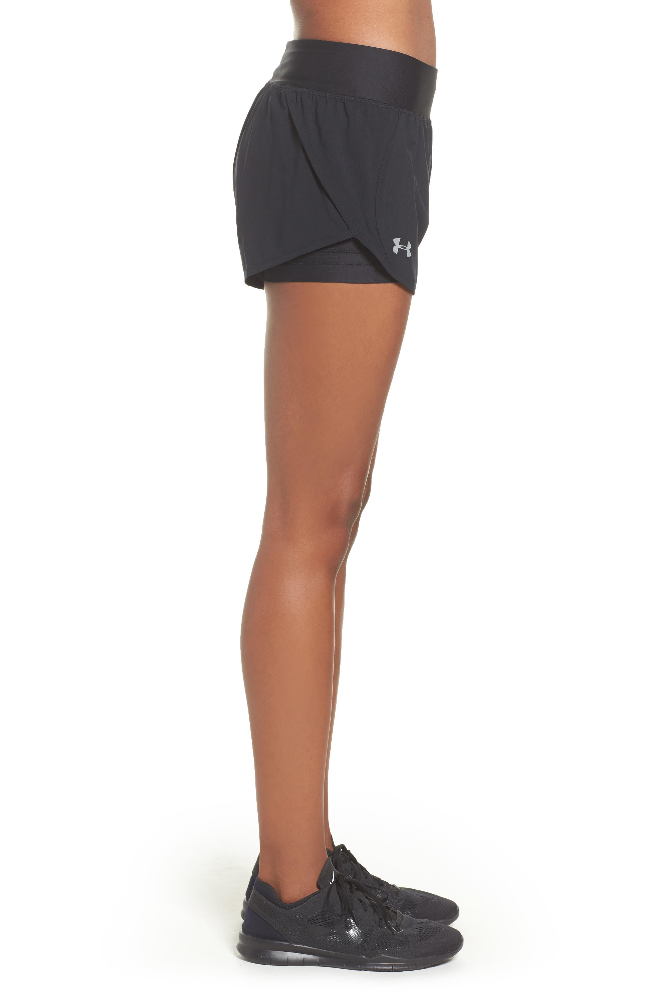 Launch Tulip Running Shorts,                             Alternate thumbnail 3, color,                             Black/ Black/ Reflective