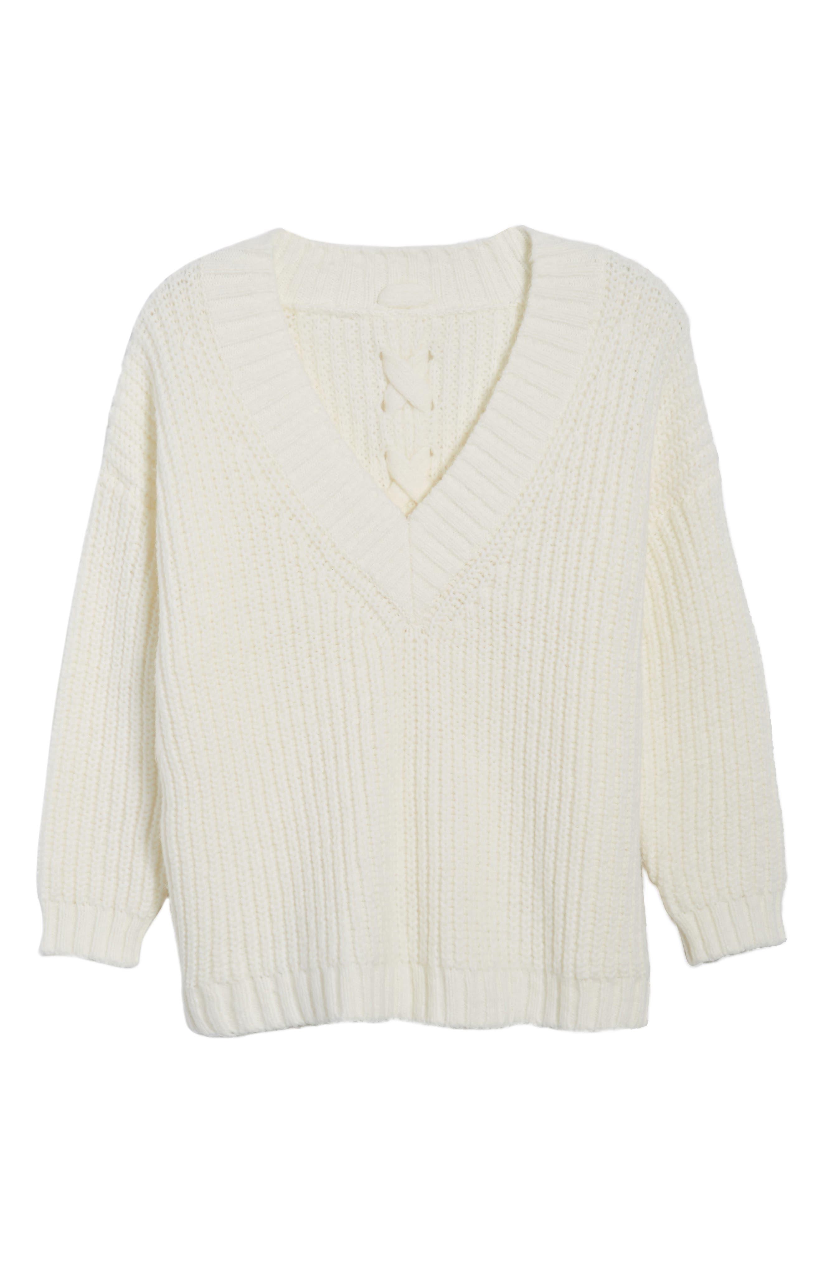 Lace Up Back V-Neck Sweater,                             Alternate thumbnail 6, color,                             Cream