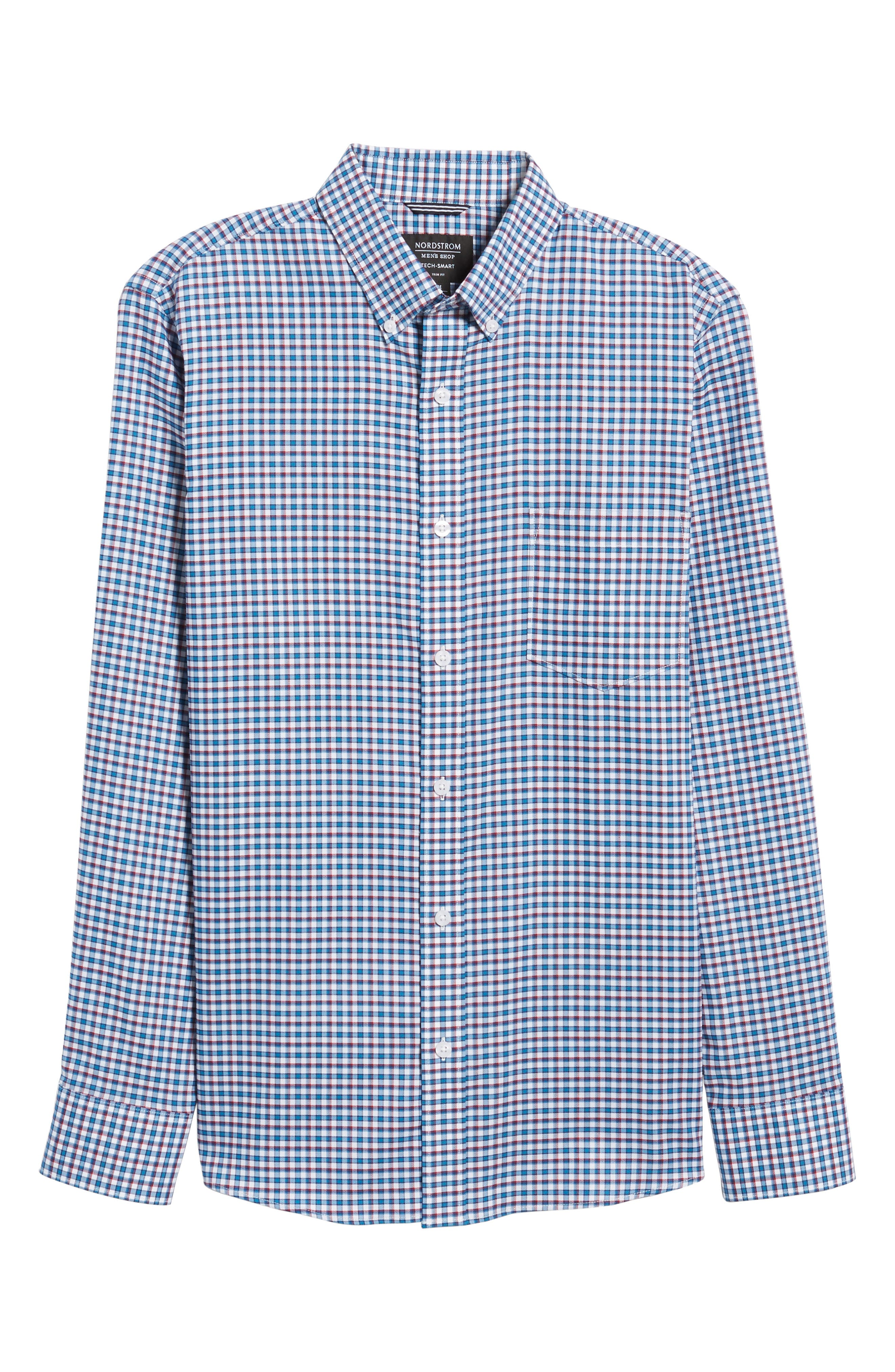 Slim Fit Tech-Smart Mini Check Sport Shirt,                             Alternate thumbnail 6, color,                             Blue Estate White Mini Check