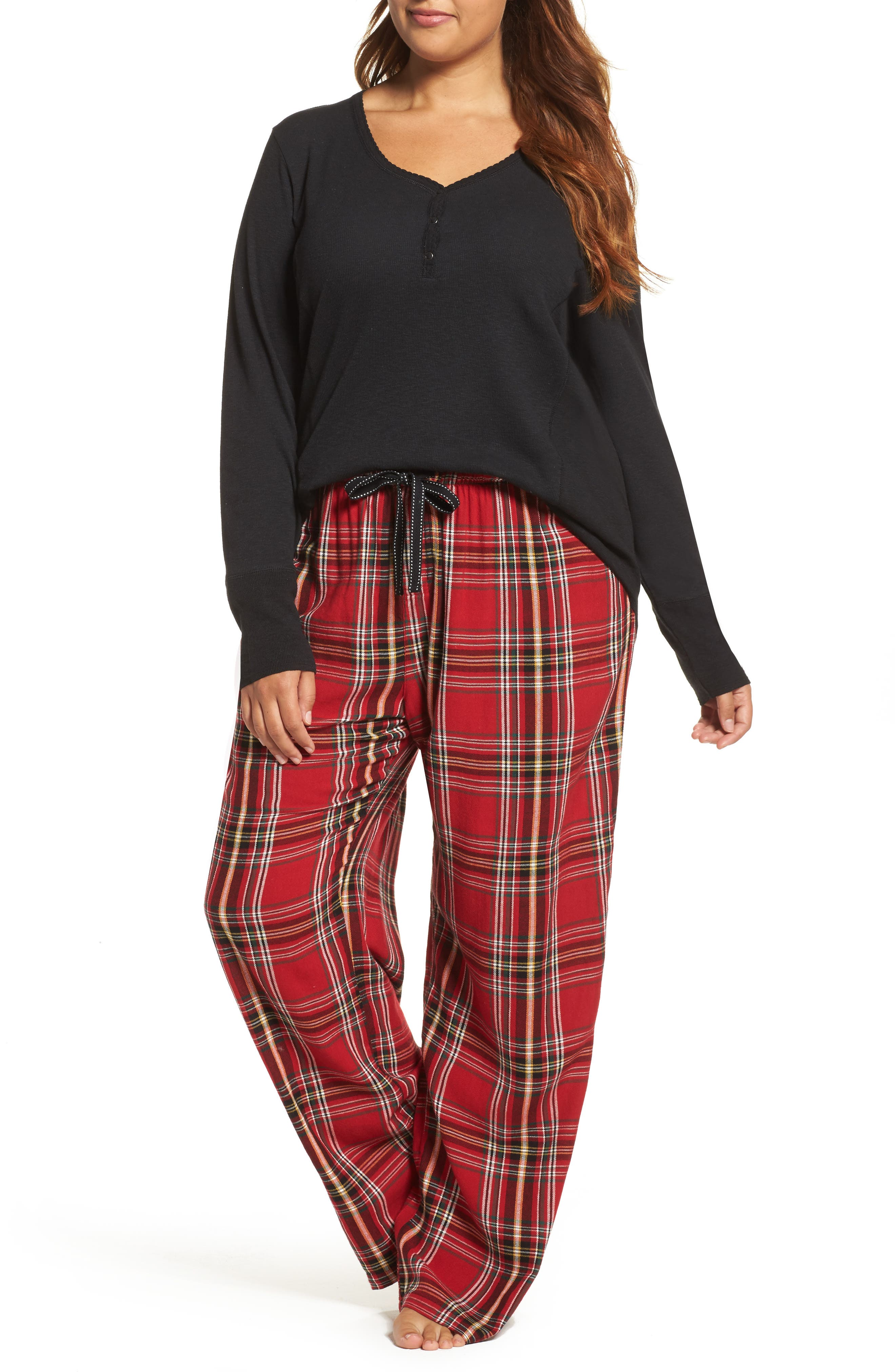 Plaid Flannel Pajama Pants,                             Alternate thumbnail 5, color,                             Brick
