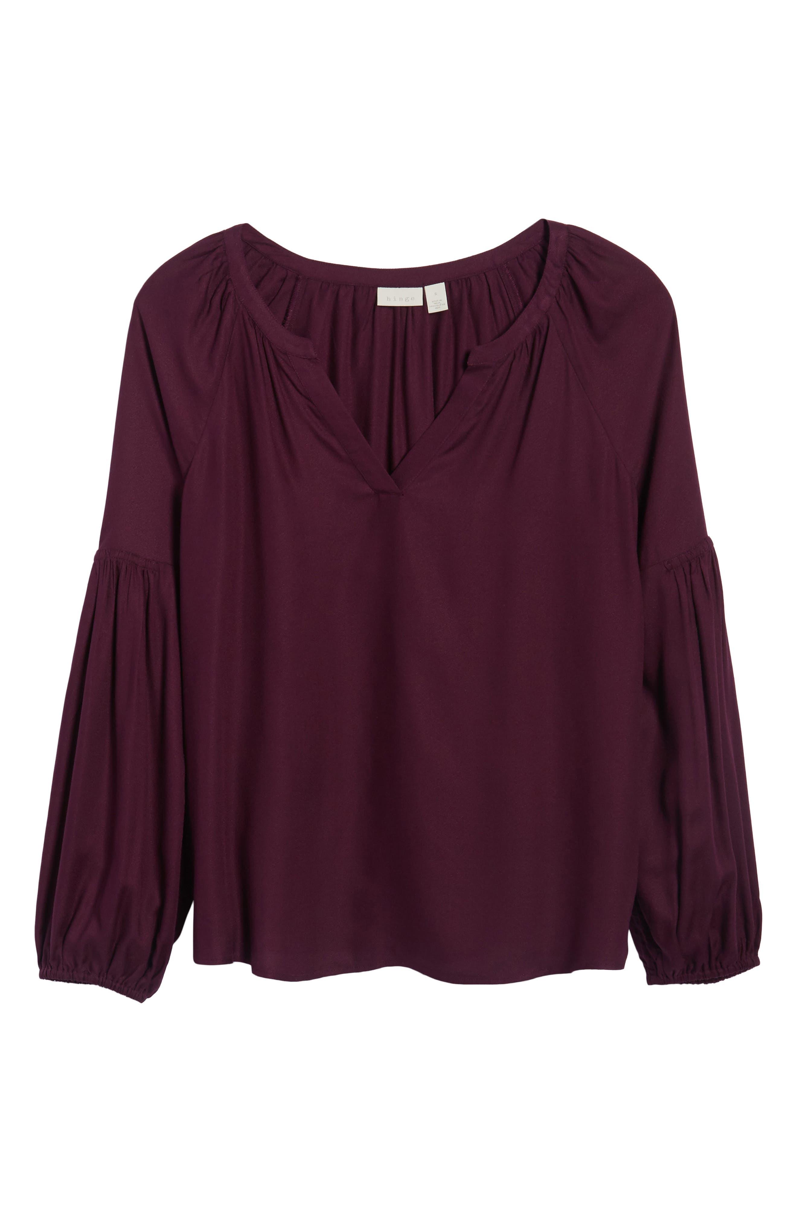 Blouson Sleeve Top,                             Alternate thumbnail 6, color,                             Purple Potent