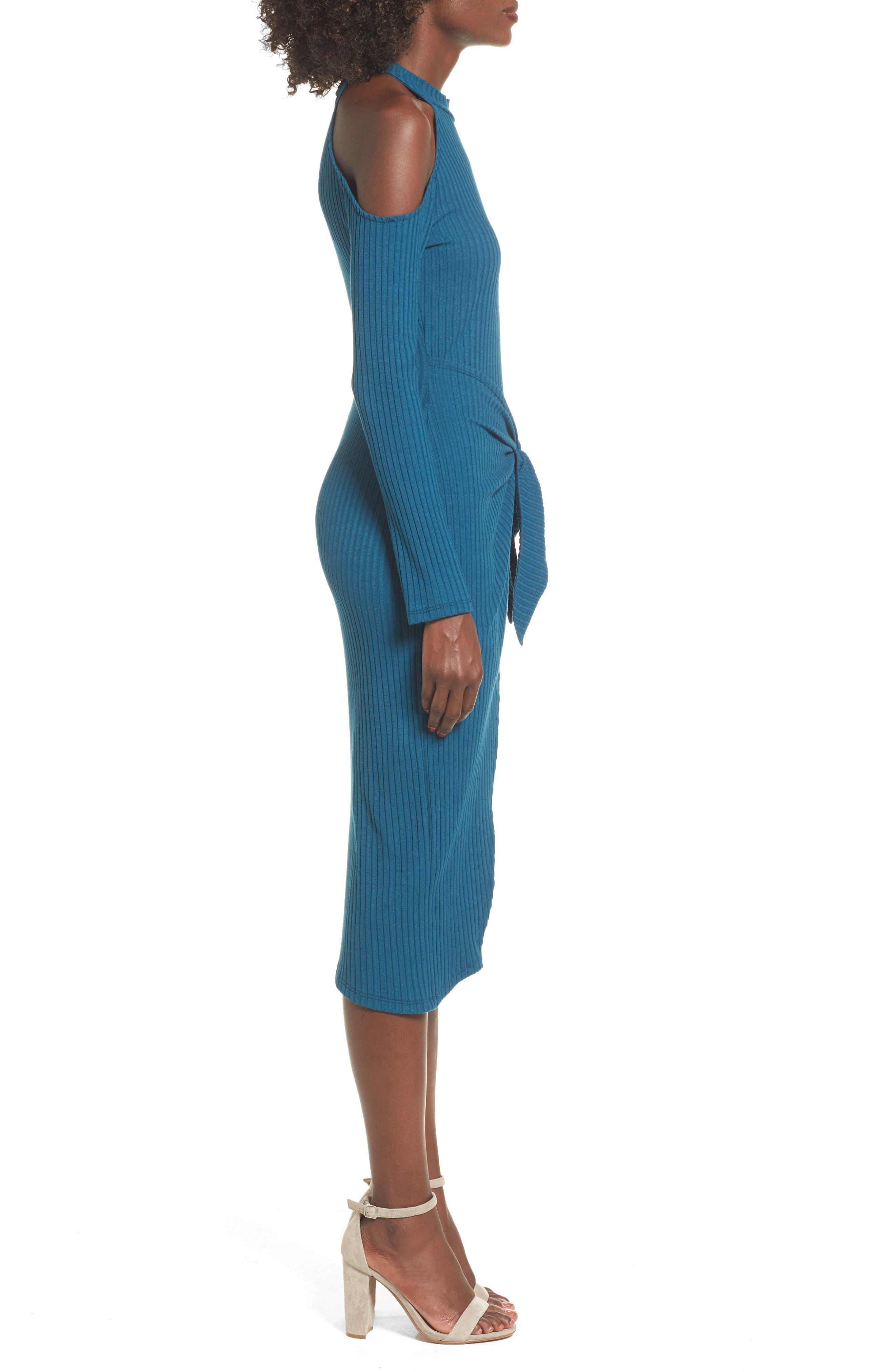 Alternate Image 3  - Tie Waist Cold Shoulder Dress