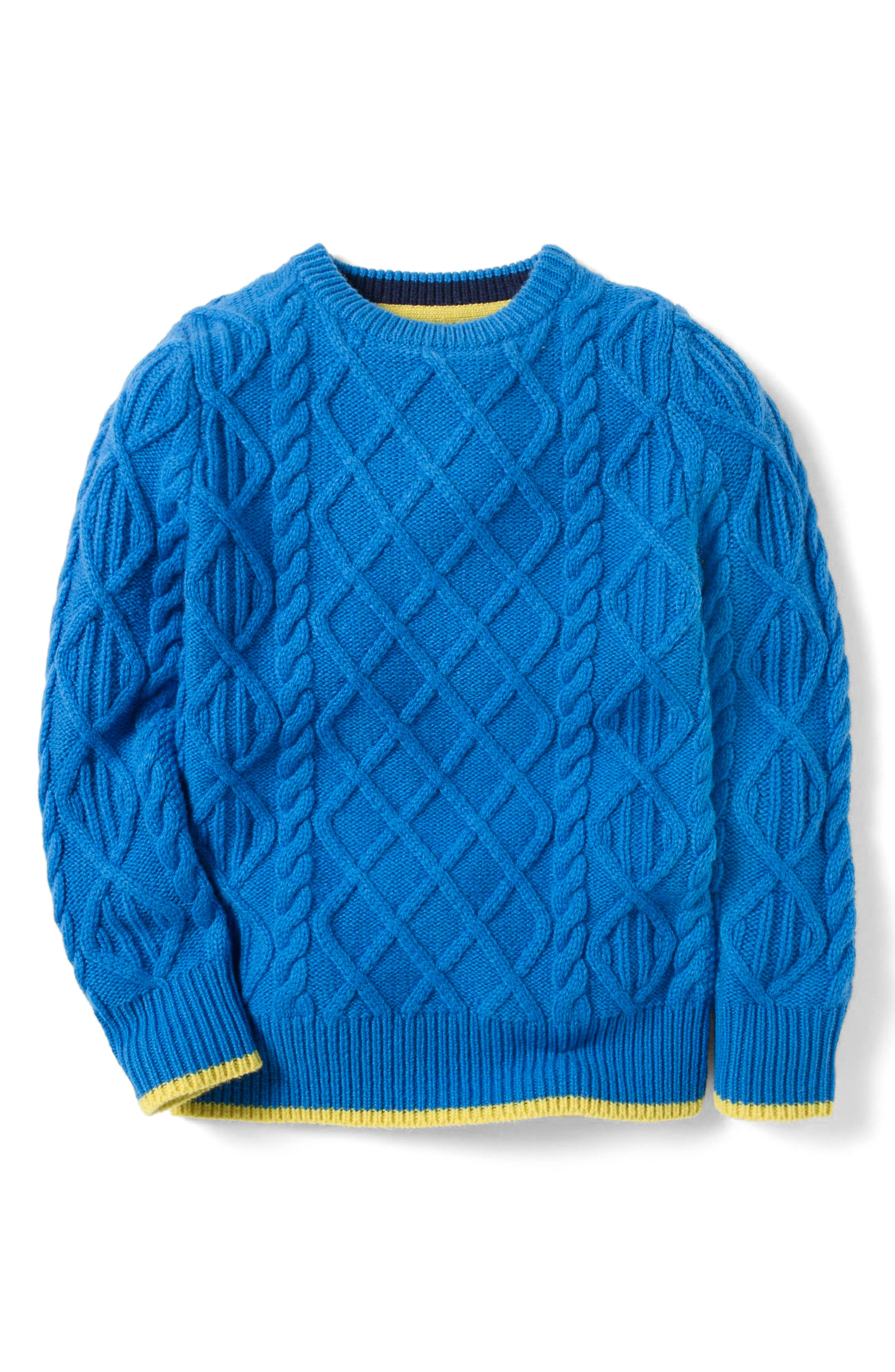 Main Image - Mini Boden Cable Wool Sweater (Toddler Boys, Little Boys & Big Boys)