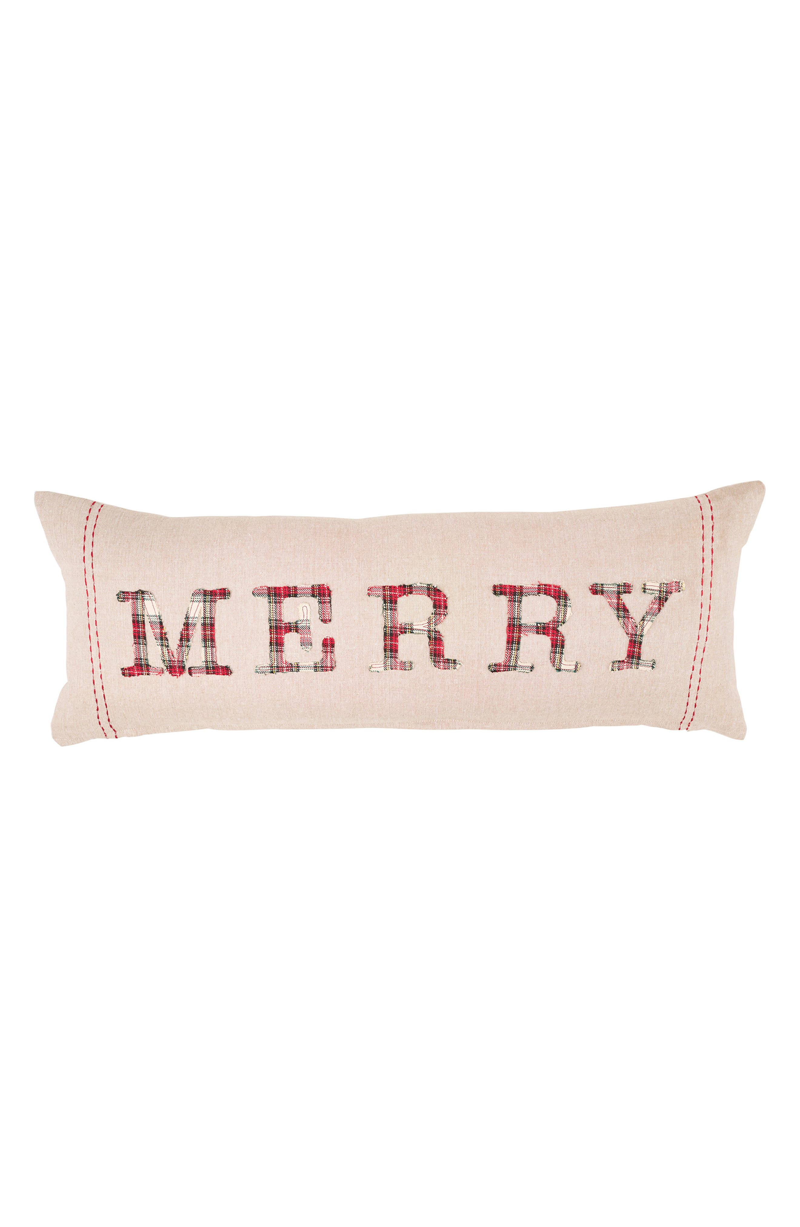 Main Image - Mud Pie Merry Tartan Appliqué Accent Pillow