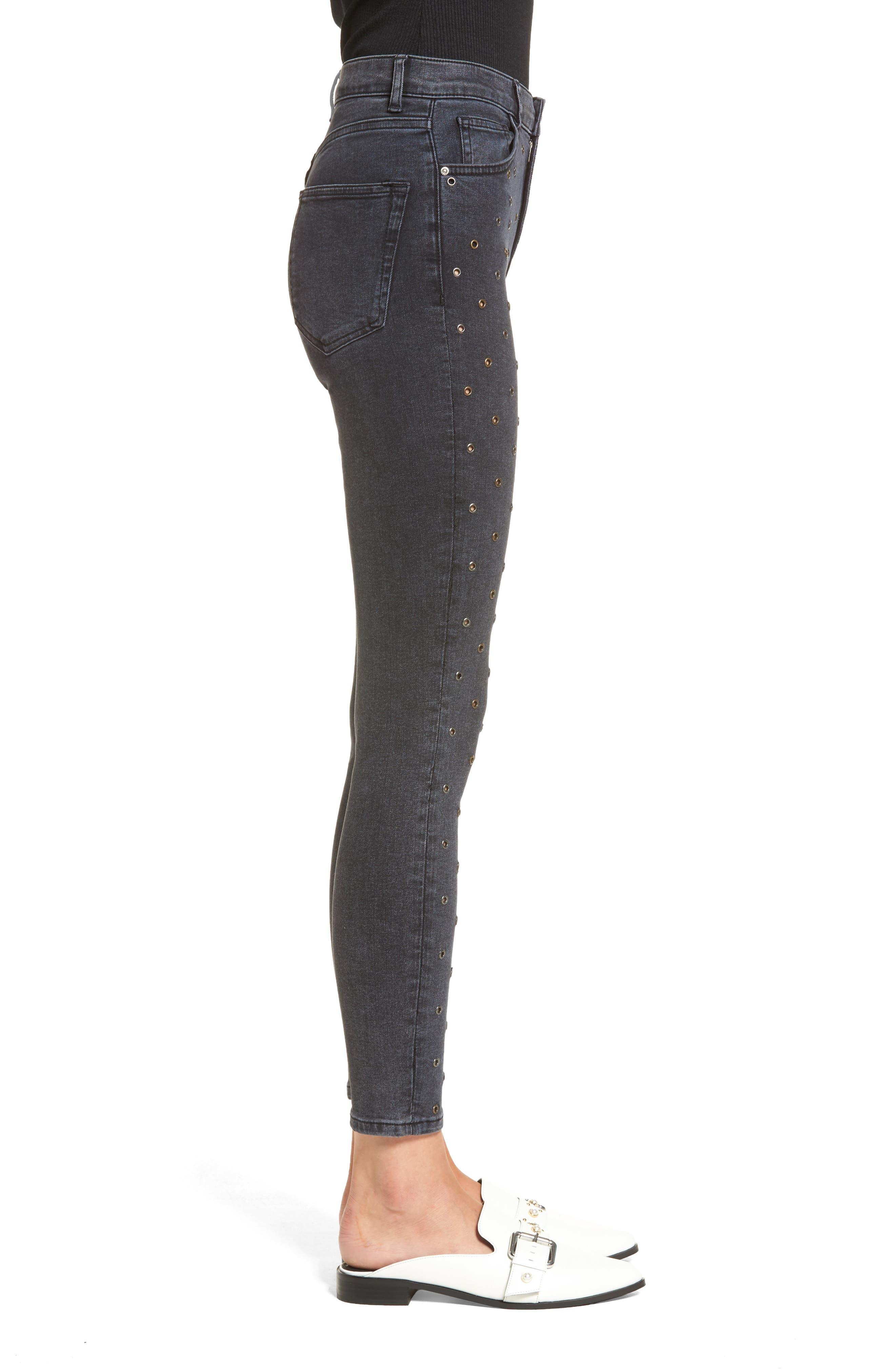 Jamie Grommet Ankle Skinny Jeans,                             Alternate thumbnail 4, color,                             Washed Black