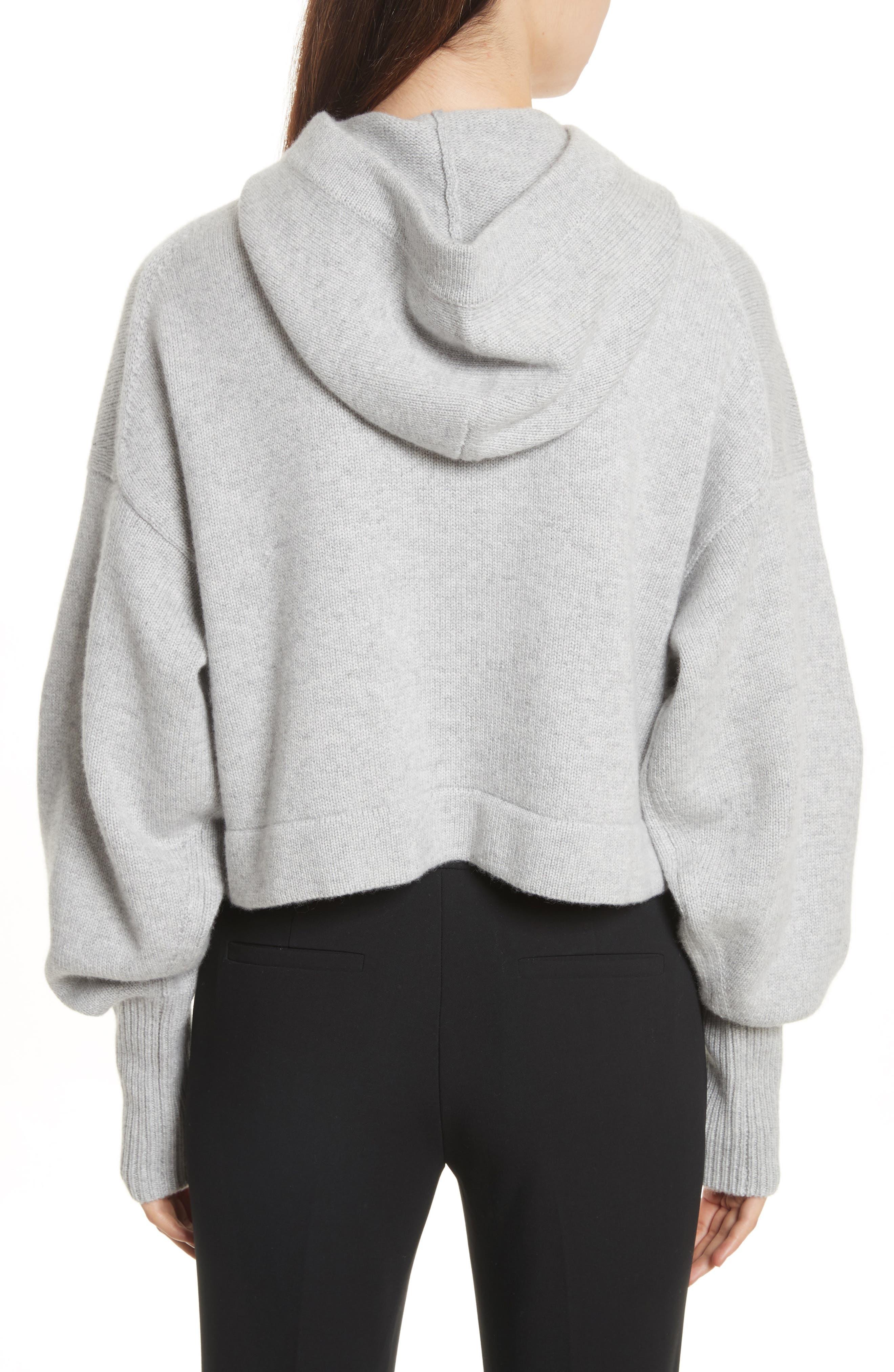 Blouson Sleeve Cashmere Hoodie,                             Alternate thumbnail 3, color,                             Heather Grey